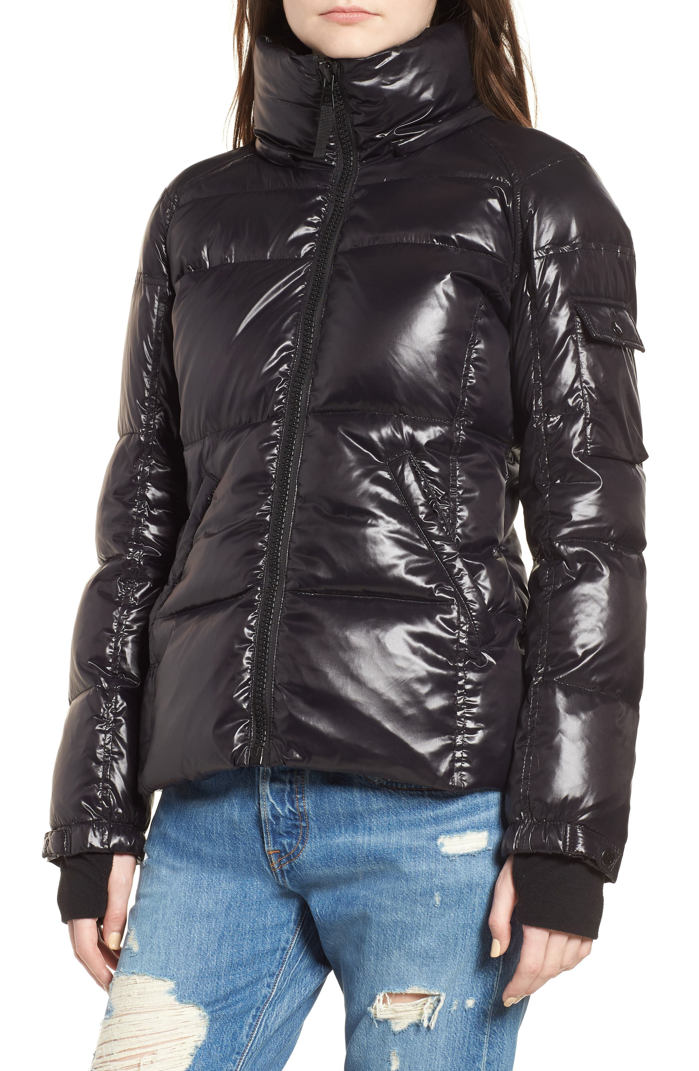 Kylie Metallic Quilted Jacket with Removable Hood,                             Alternate thumbnail 4, color,                             Jet