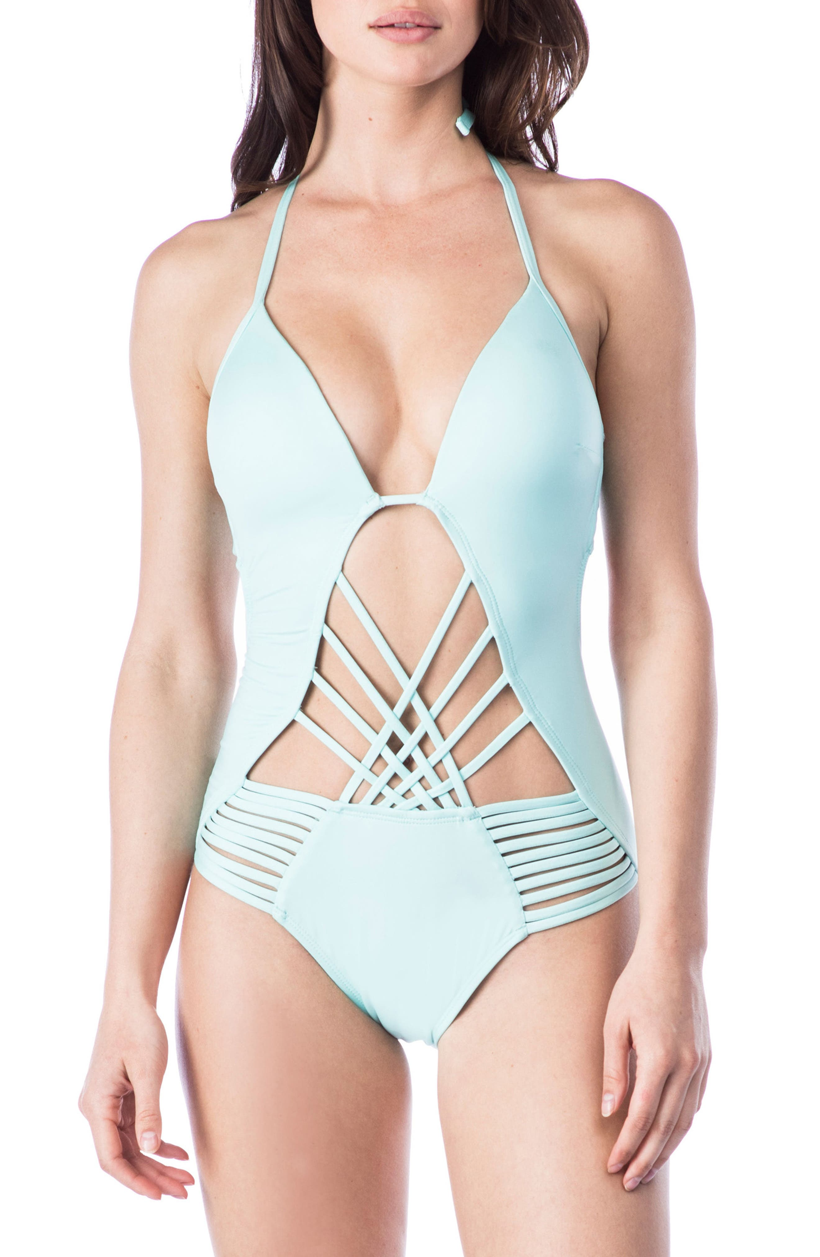 Push-Up One-Piece Swimsuit,                         Main,                         color, Aqua