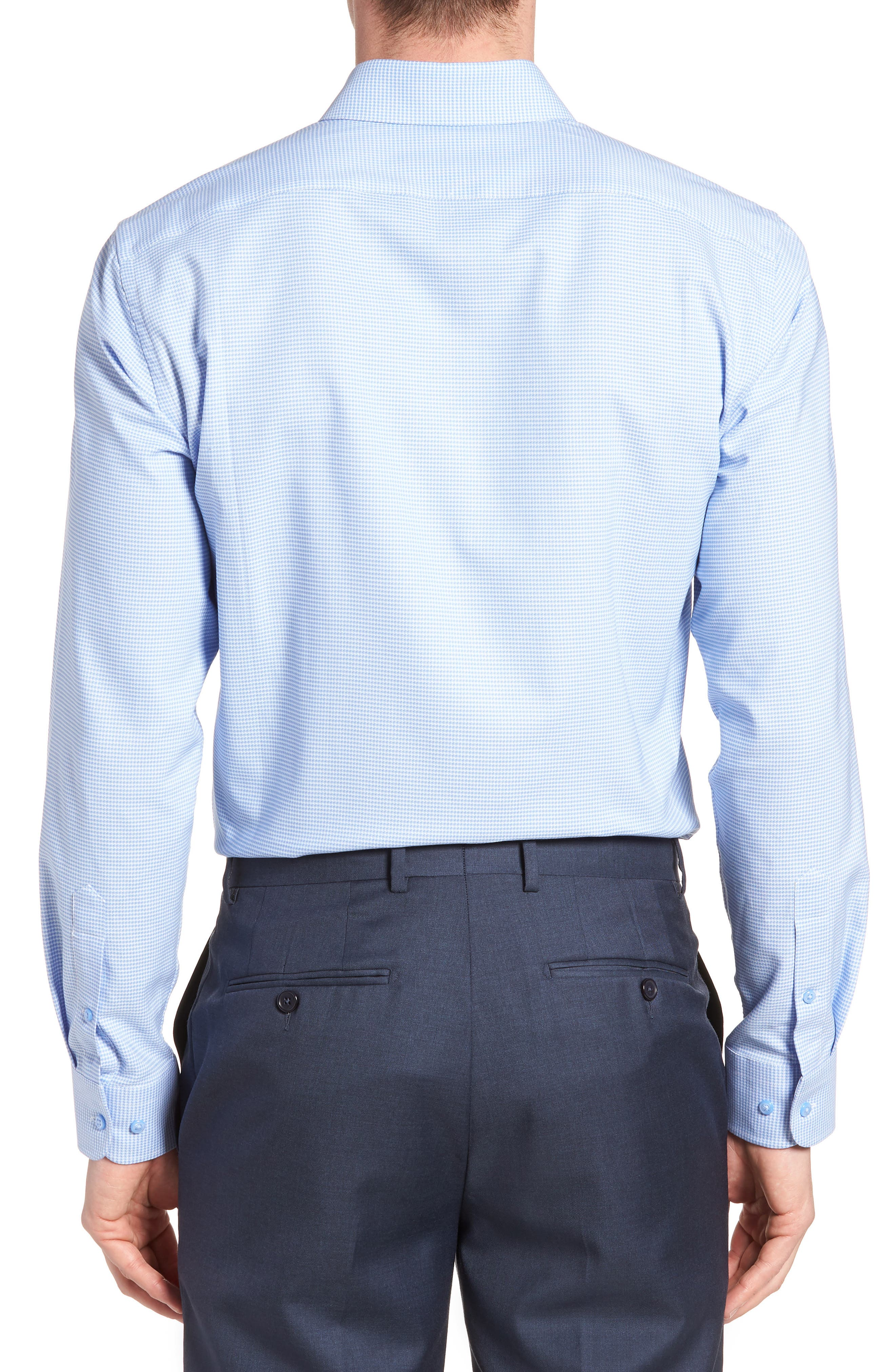 Tech-Smart Trim Fit Stretch Texture Dress Shirt,                             Alternate thumbnail 3, color,                             Blue Hydrangea