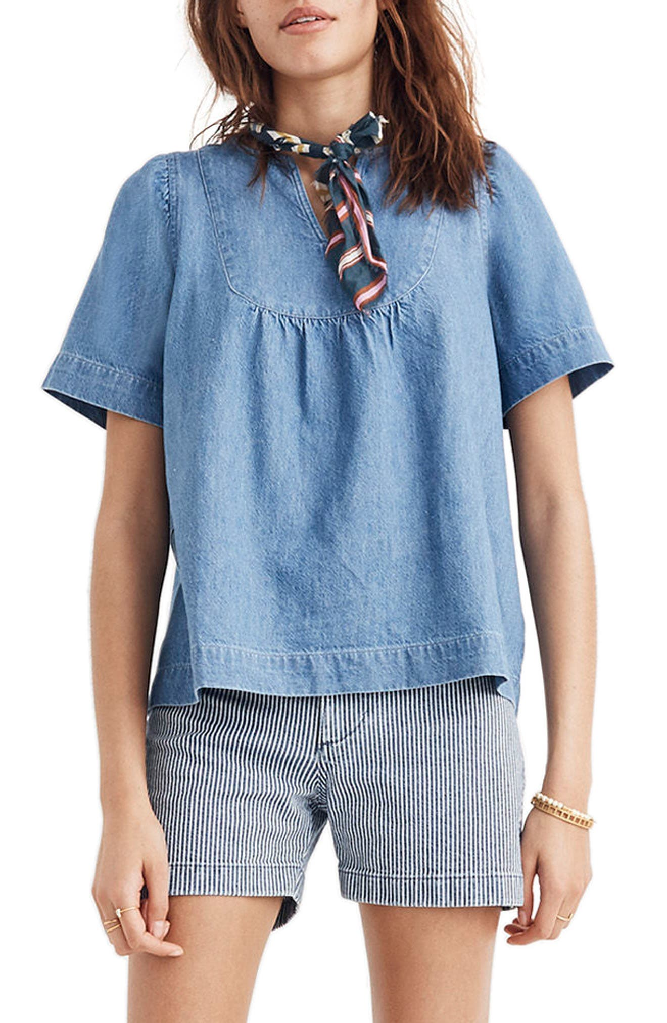 Denim Popover Swing Top by Madewell