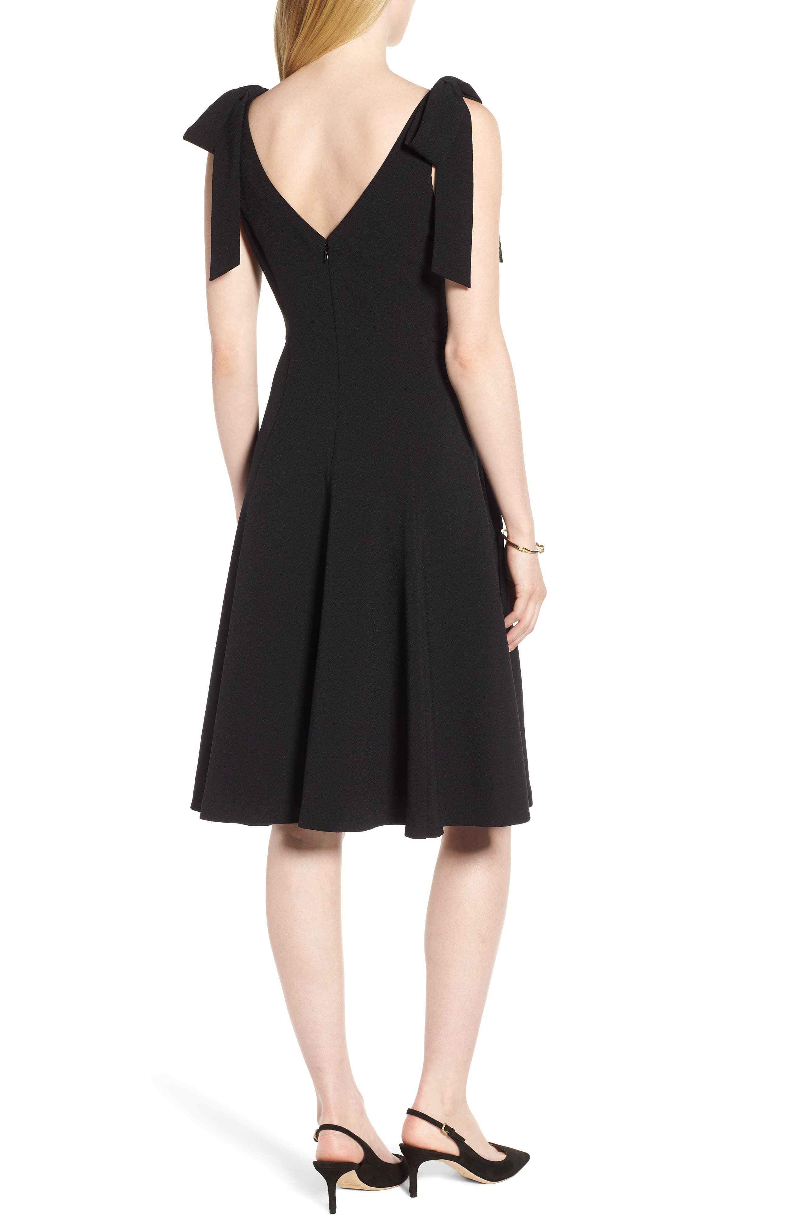 Tie Shoulder Fit & Flare Dress,                             Alternate thumbnail 2, color,                             Black