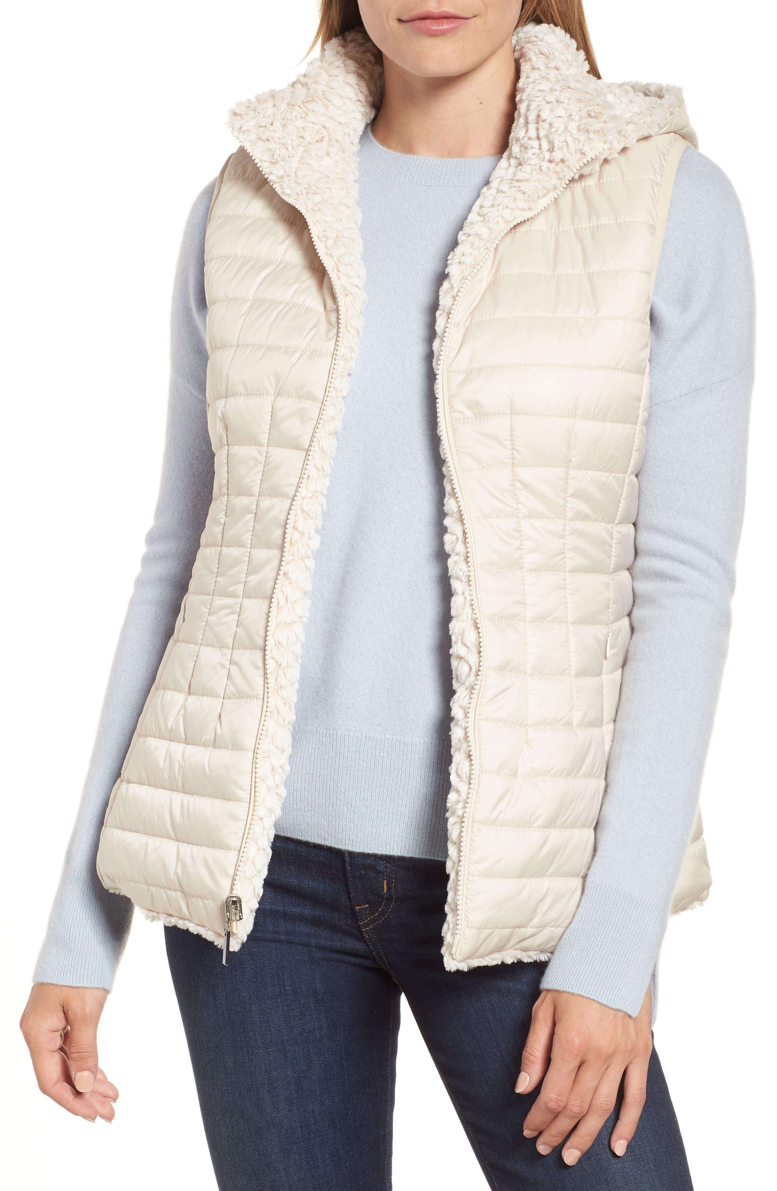 Faux Fur Reversible Hooded Vest,                             Main thumbnail 1, color,                             Custard