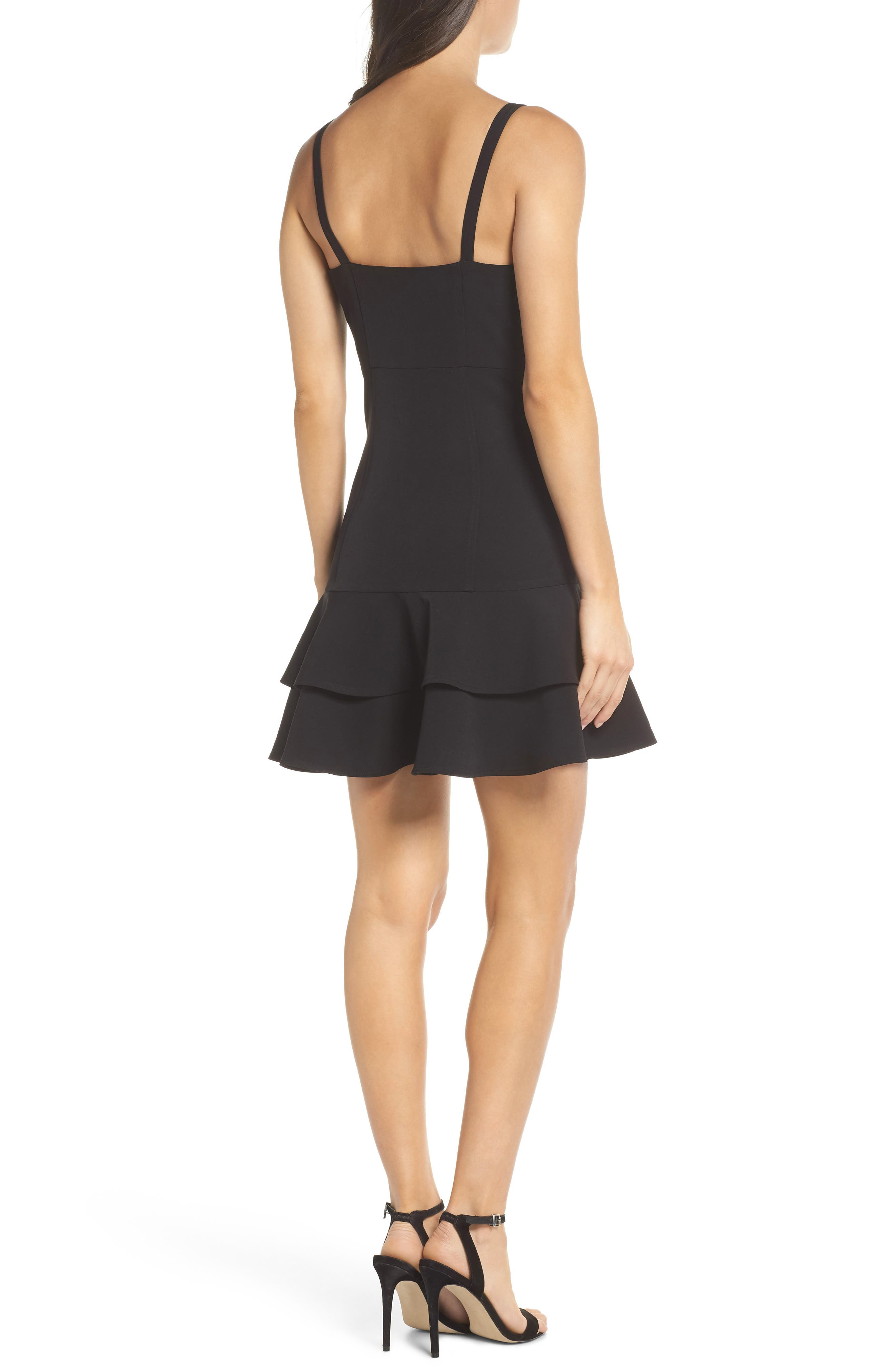 Bustier Ruffle Hem Dress,                             Alternate thumbnail 2, color,                             Black