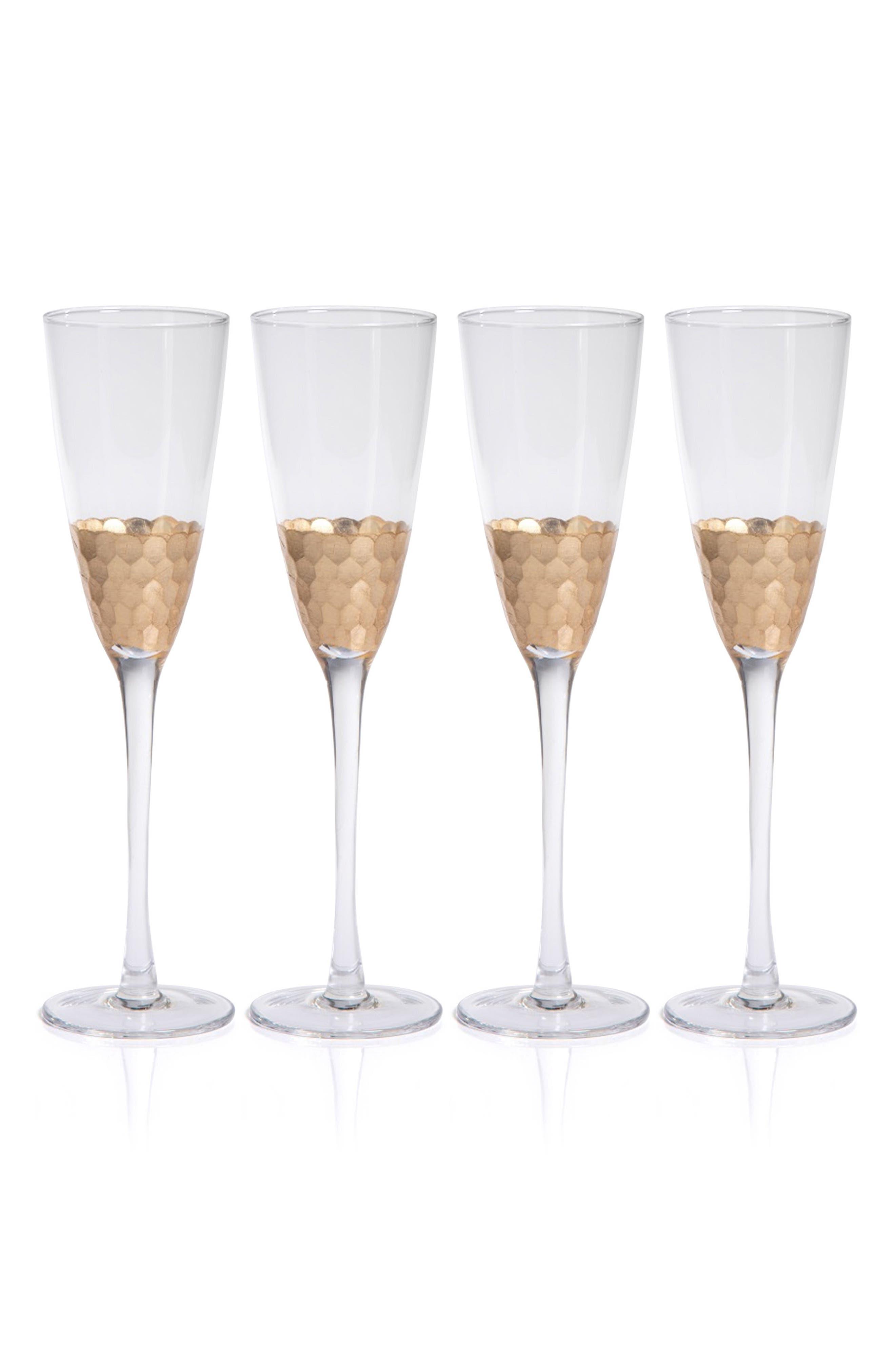 Vitorrio Set of 4 Champagne Flutes,                             Main thumbnail 1, color,                             Gold