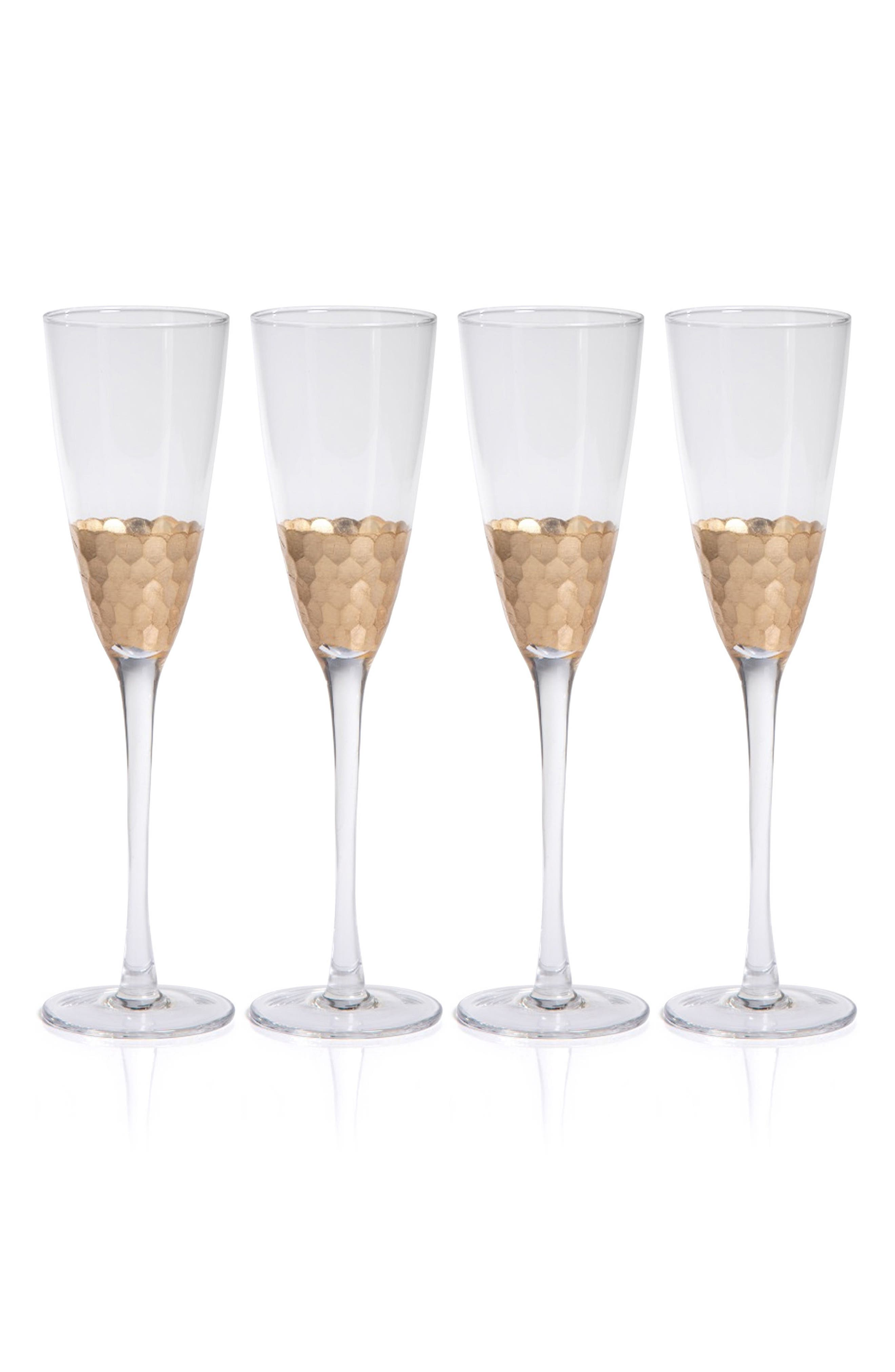 Vitorrio Set of 4 Champagne Flutes,                         Main,                         color, Gold