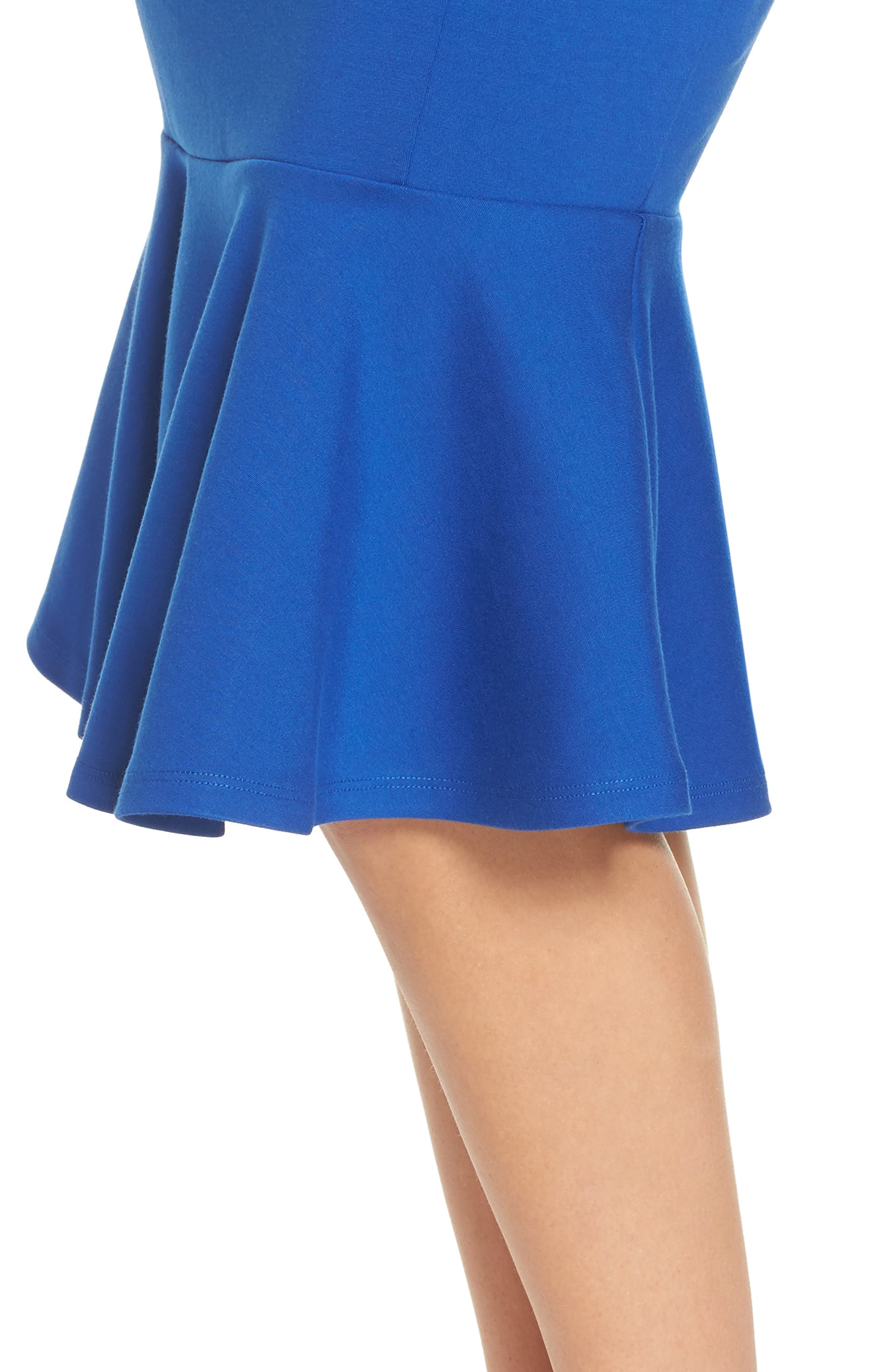 Monrow Flutter Hem Midi Dress,                             Alternate thumbnail 4, color,                             Cobalt