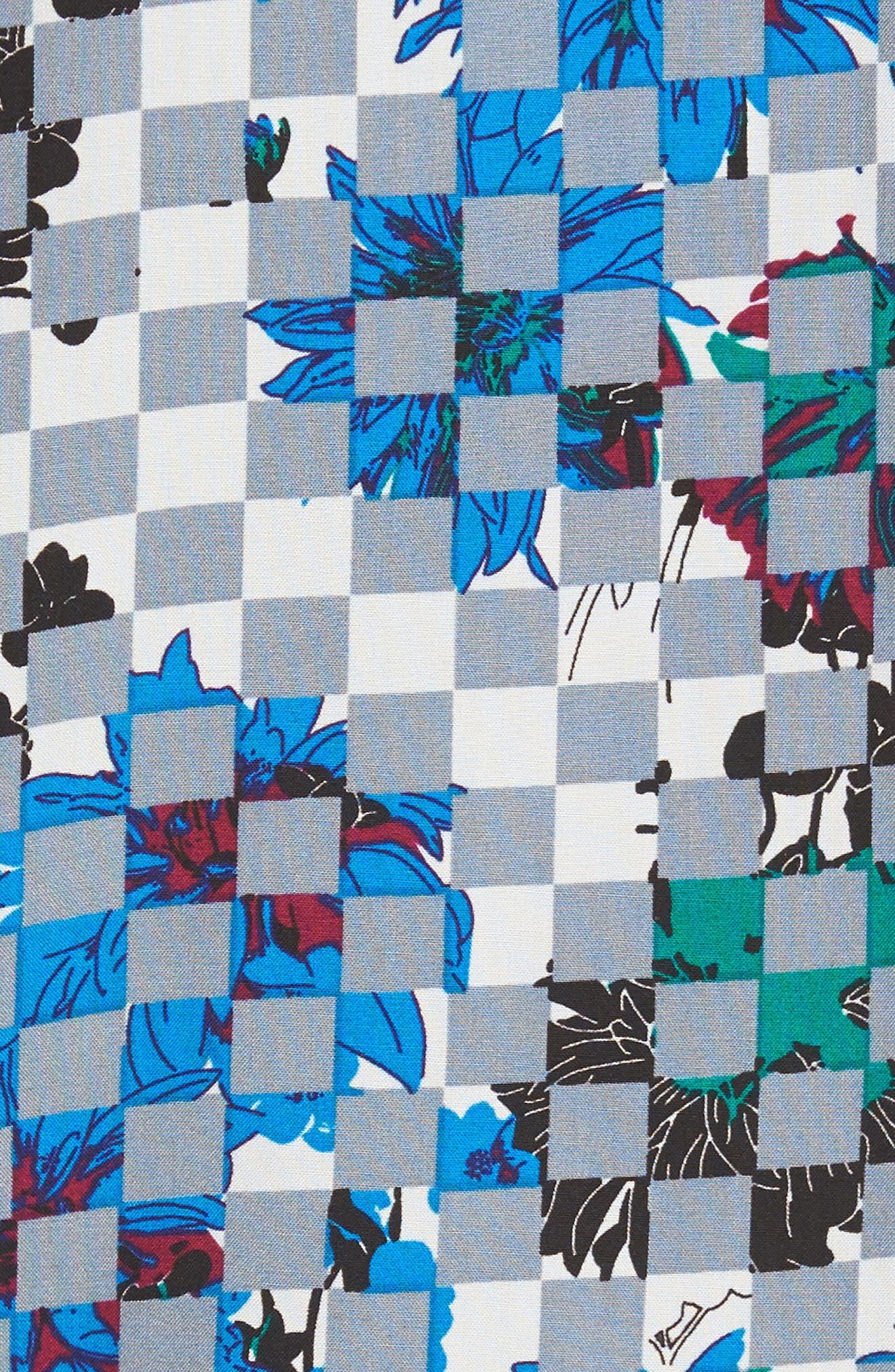 Woven Print Shirt,                             Alternate thumbnail 6, color,                             Grey Checker Board Floral