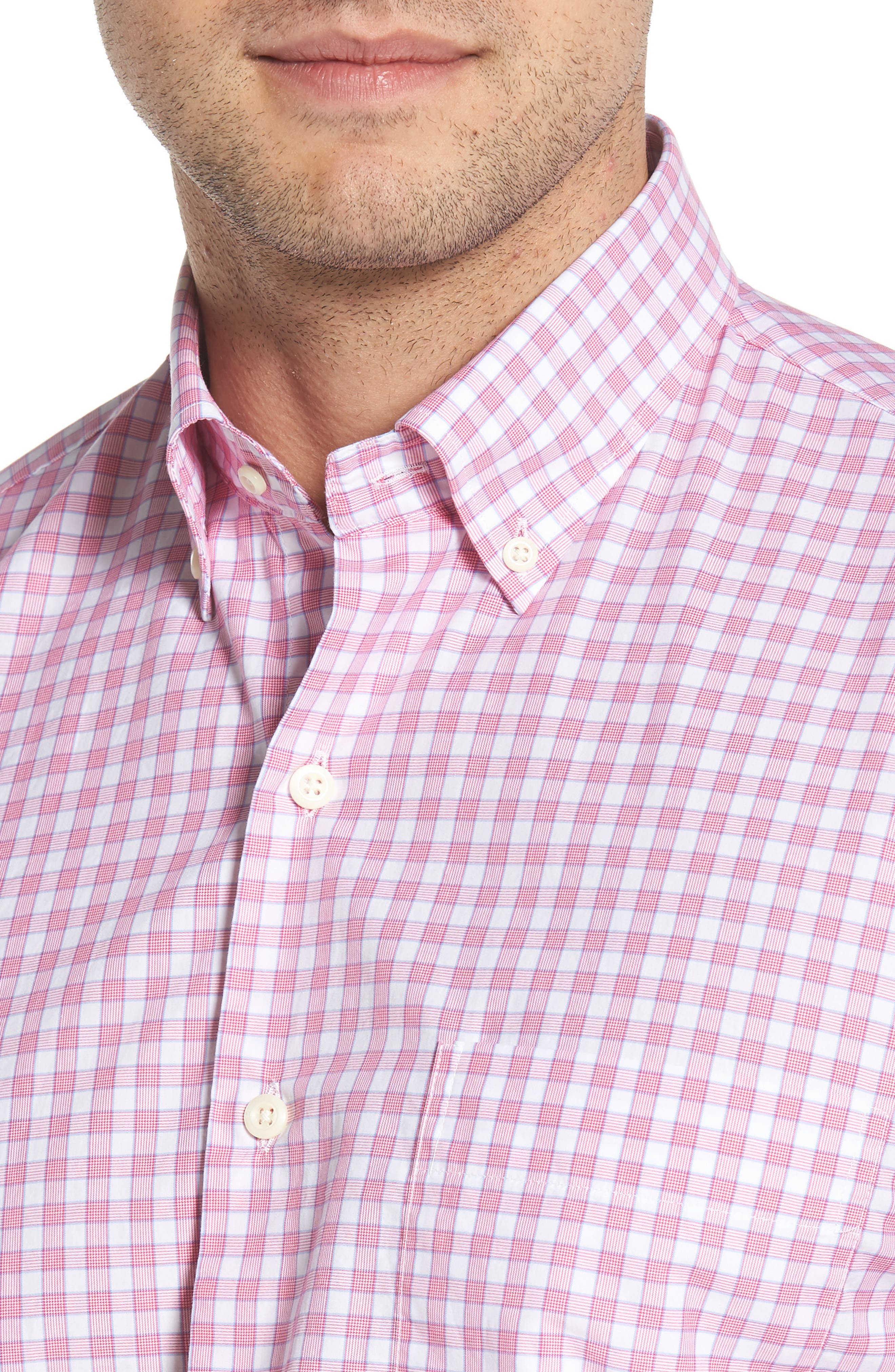 Crown Finish Marsh Regular Fit Check Sport Shirt,                             Alternate thumbnail 2, color,                             Mambo Pink