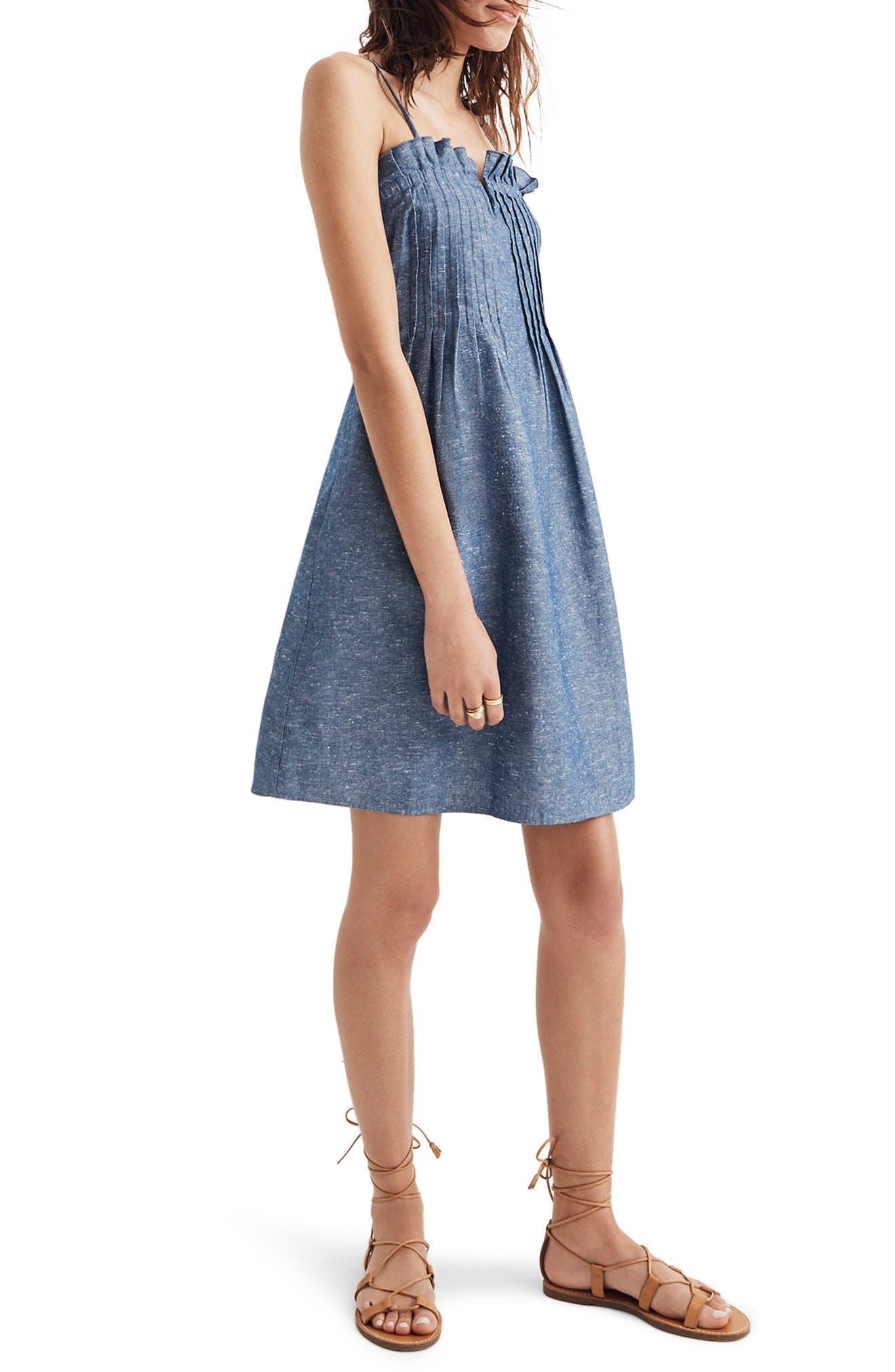 Pintuck Denim Camisole Dress,                             Main thumbnail 1, color,                             Brilliant Royal