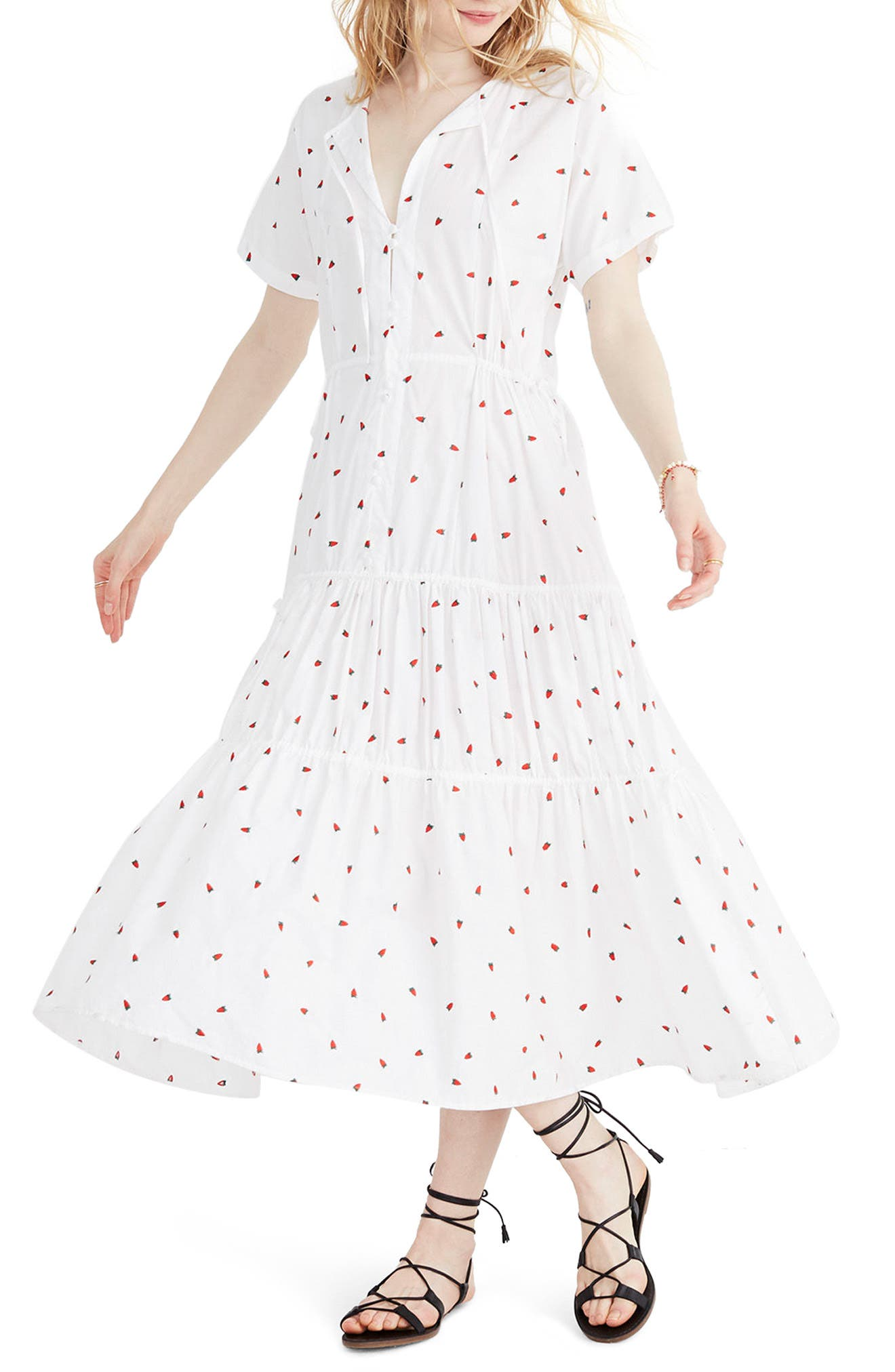 Embroidered Strawberry Tiered Midi Dress,                         Main,                         color, Strawberry Critter White