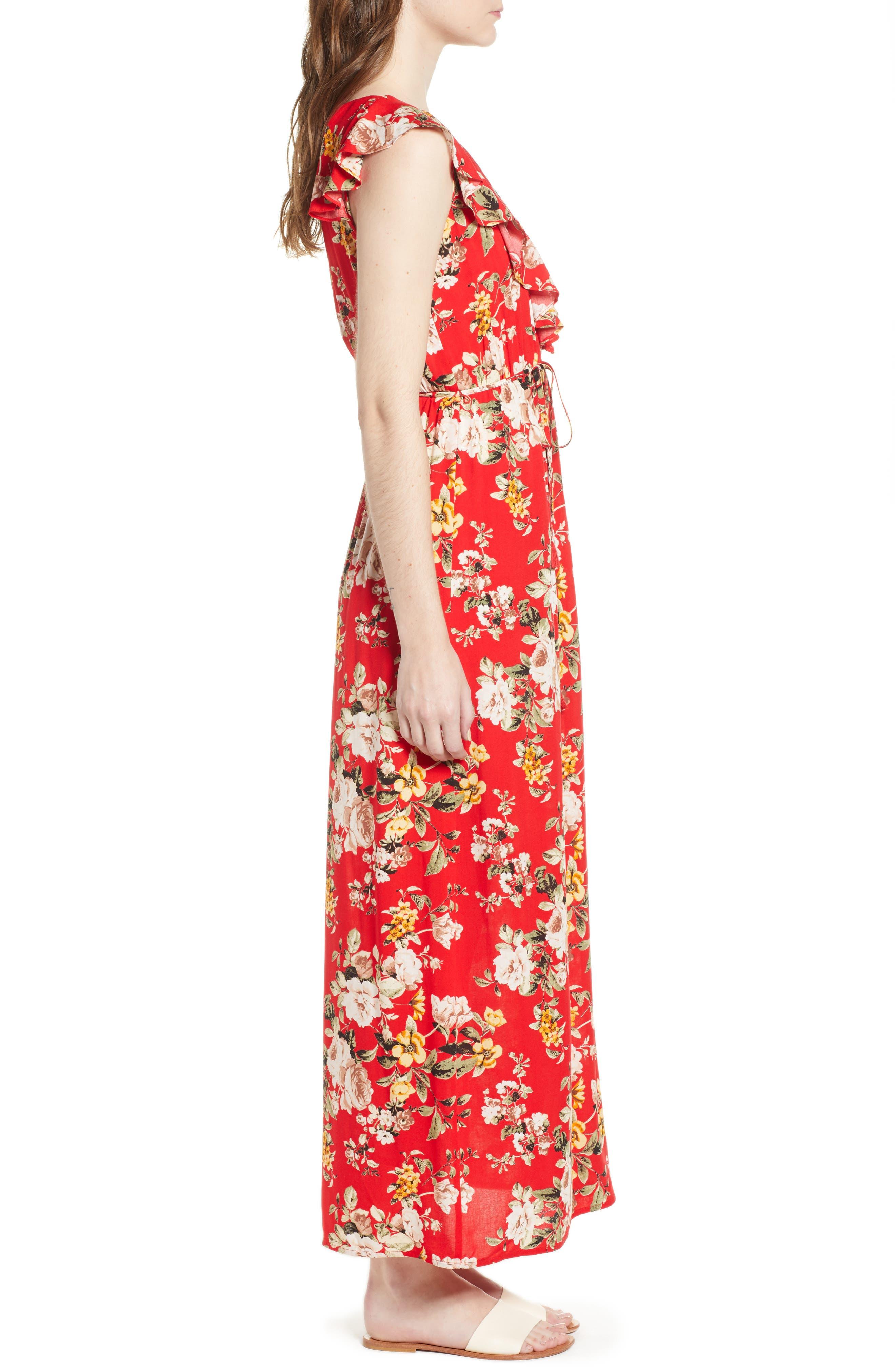 Ruffle Maxi Dress,                             Alternate thumbnail 3, color,                             483 Red