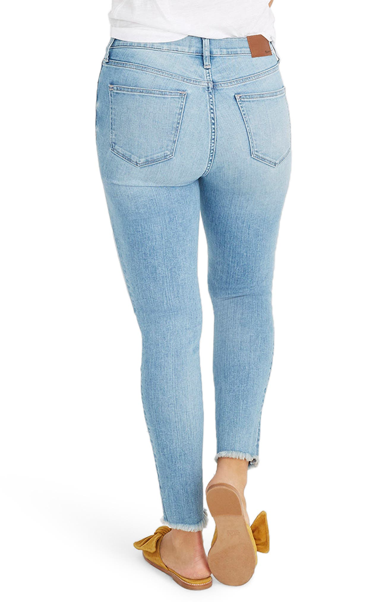 Button Front High Waist Crop Skinny Jeans,                             Alternate thumbnail 2, color,                             Denton Wash