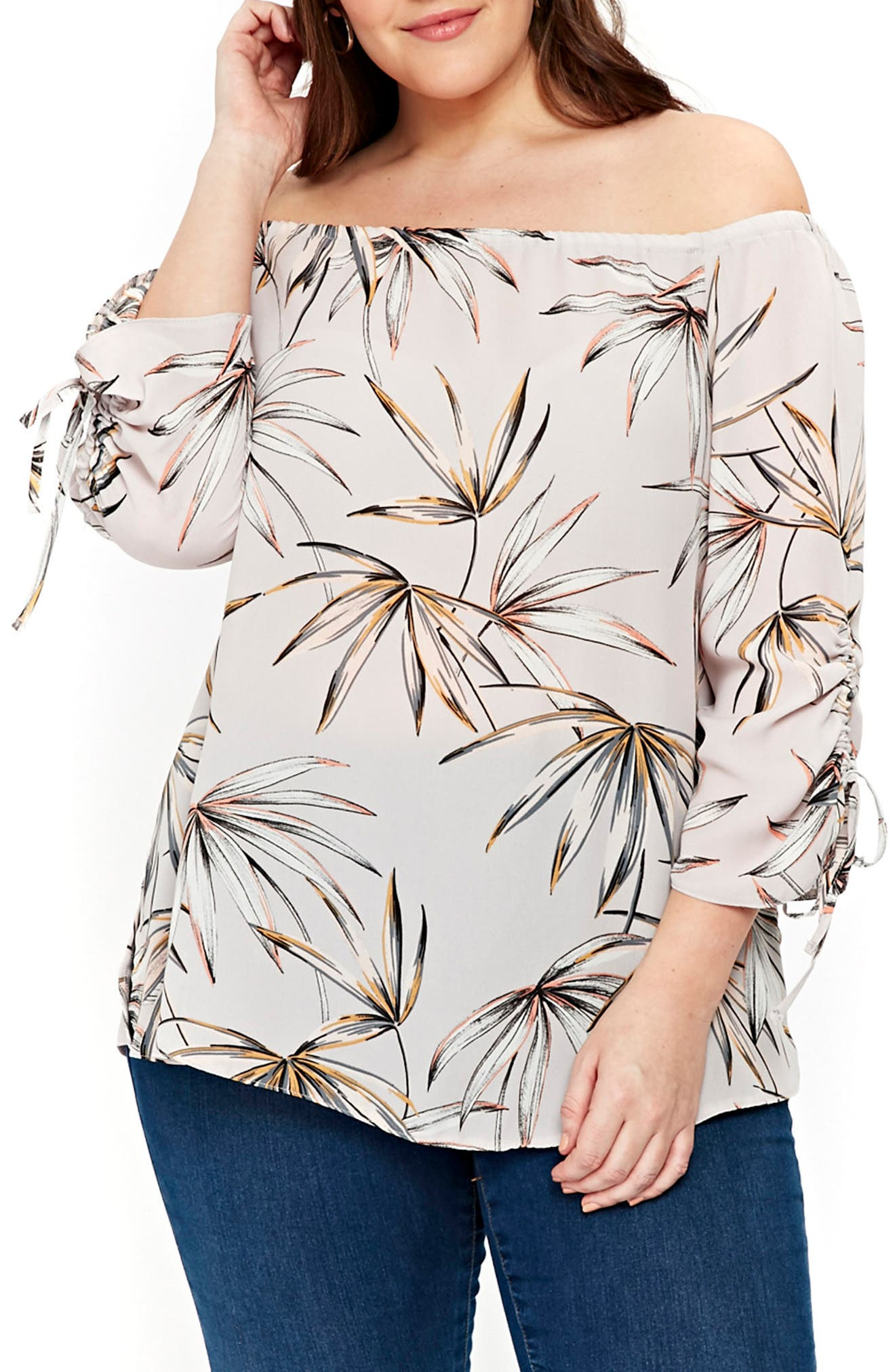 Palm Print Off the Shoulder Top,                             Main thumbnail 1, color,                             Grey