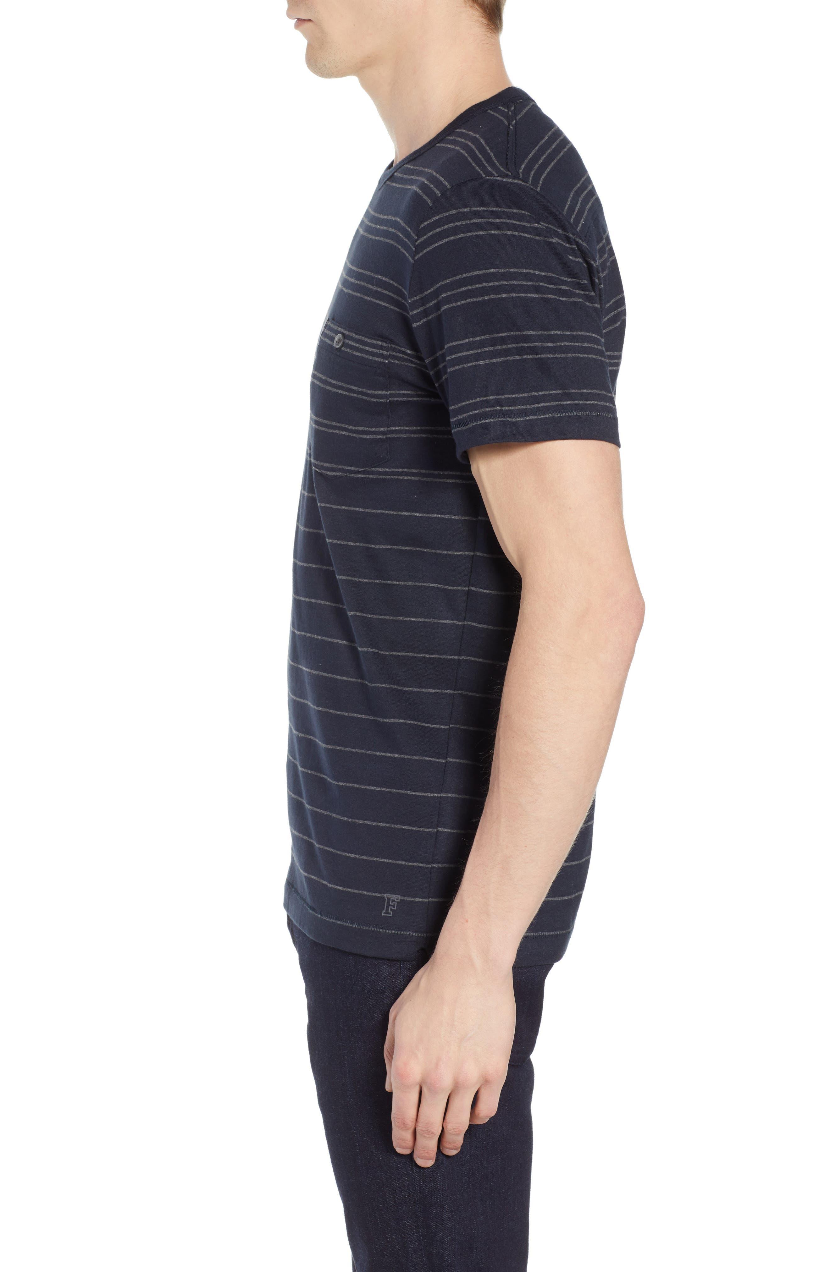 Summer Graded Stripe Pocket T-Shirt,                             Alternate thumbnail 3, color,                             Marine Blue Charcoal Melange