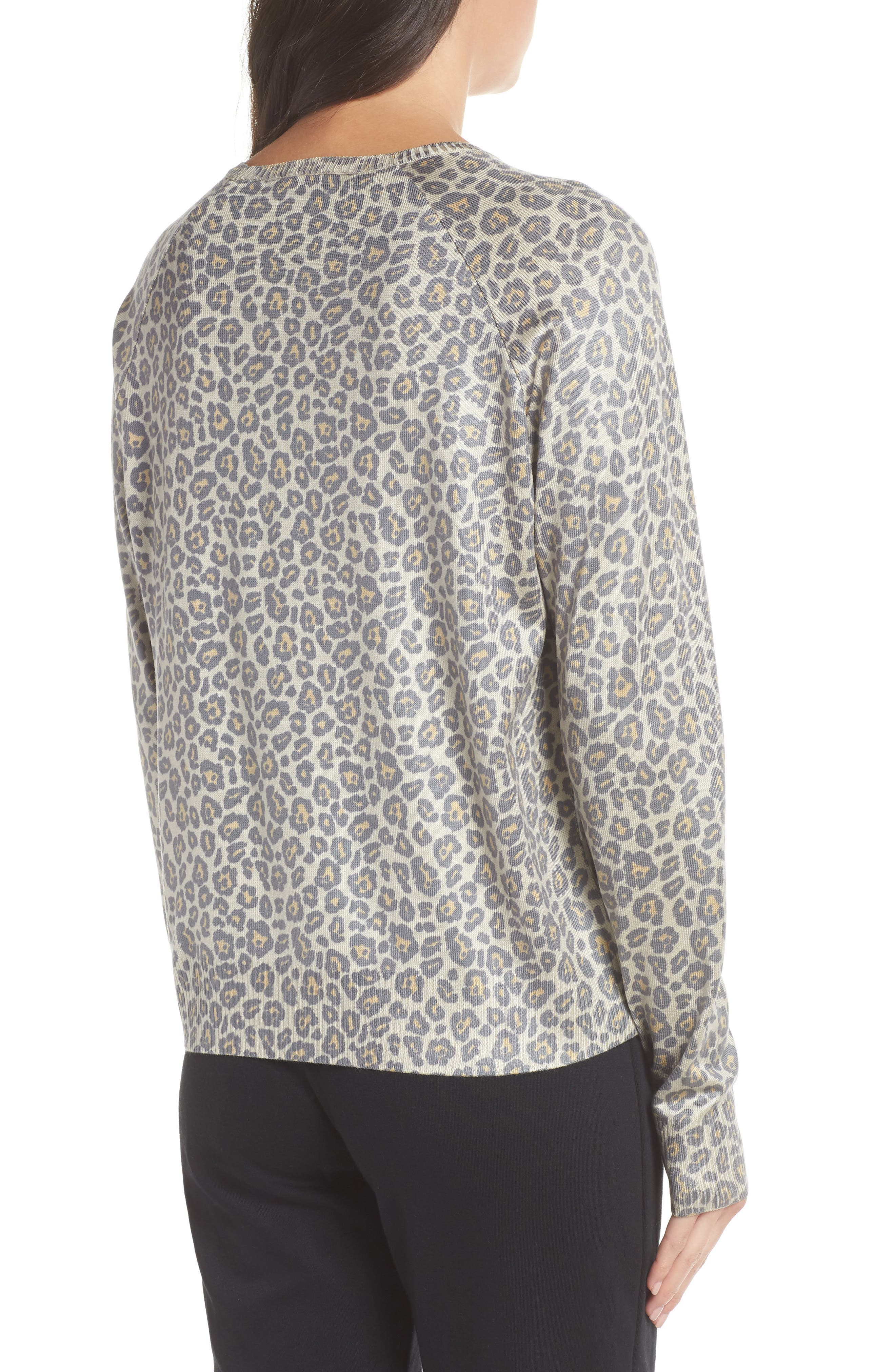 Leopard Print Sweatshirt,                             Alternate thumbnail 2, color,                             Beige Leopard