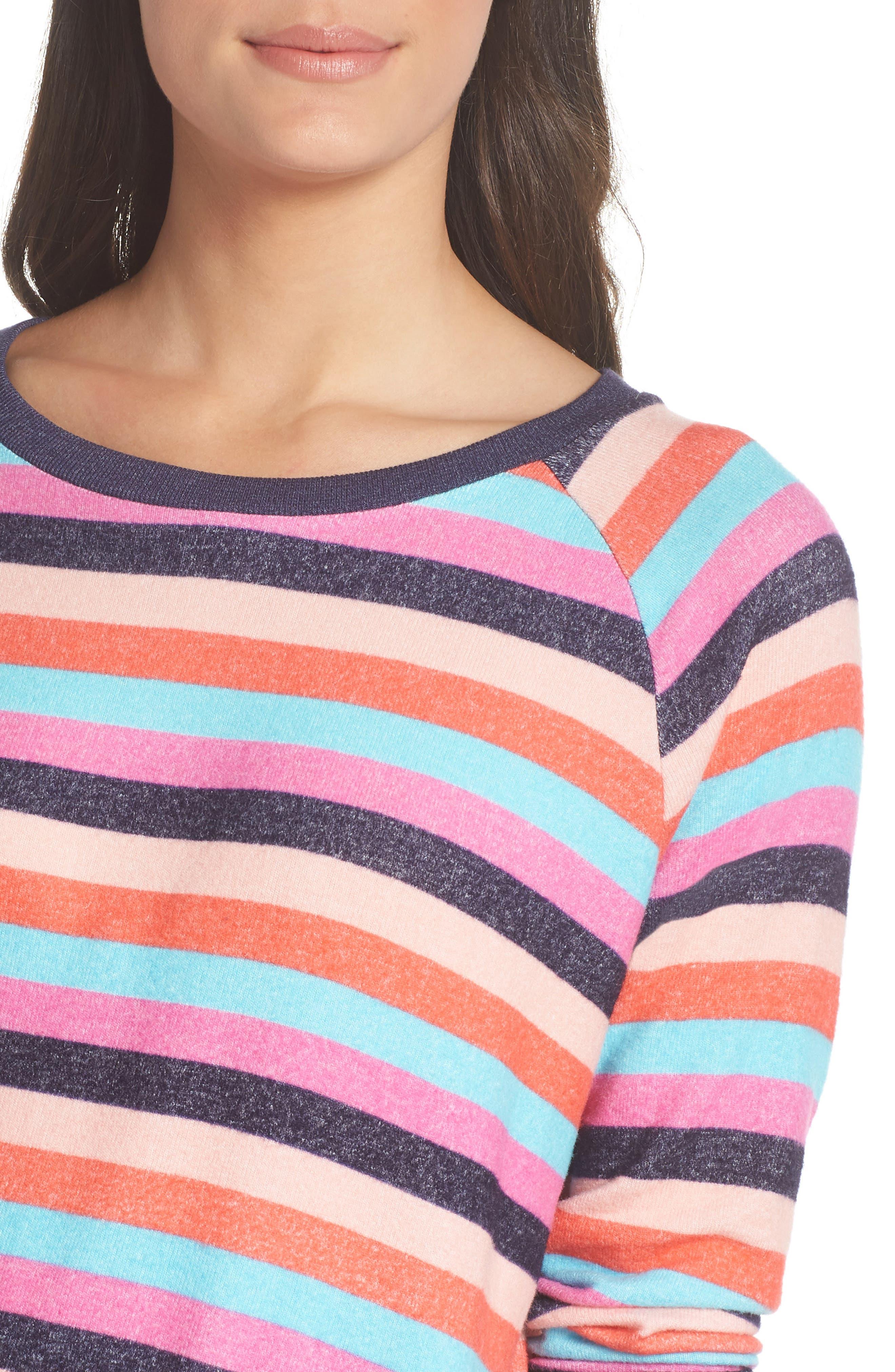 Cozy Crew Raglan Sweatshirt,                             Alternate thumbnail 4, color,                             Navy Dusk Milli Multi Stripe