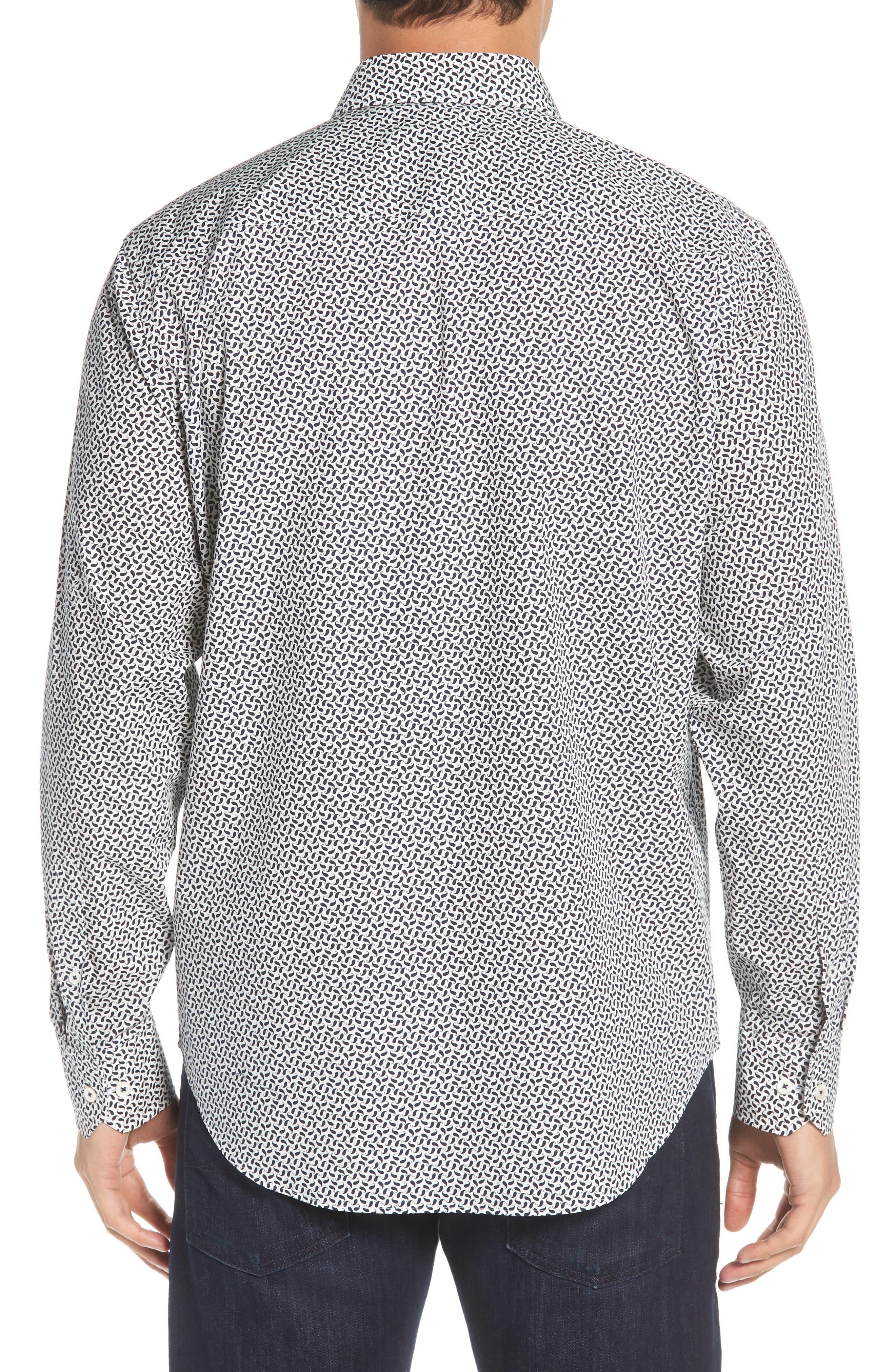 Classic Fit Mini Paisley Print Sport Shirt,                             Alternate thumbnail 3, color,                             Midnight