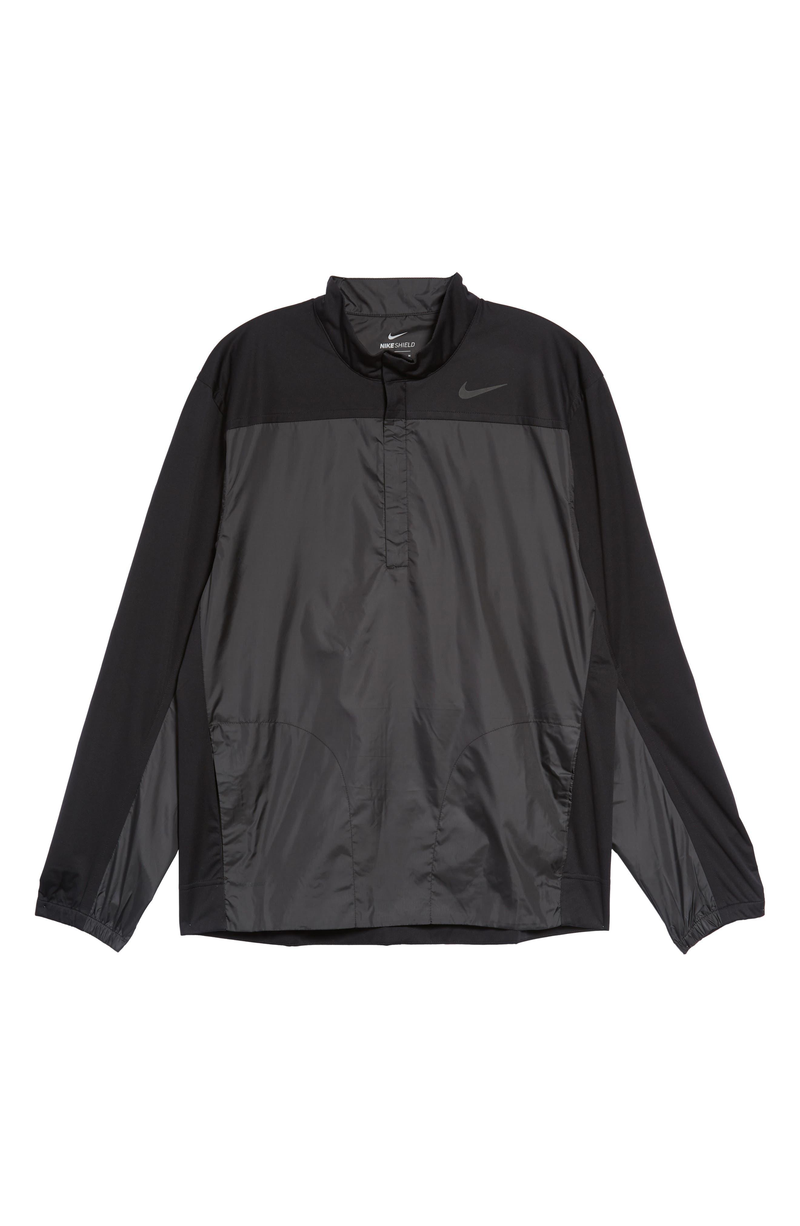 Shield Full Zip Golf Jacket,                             Alternate thumbnail 6, color,                             Black/ Silver