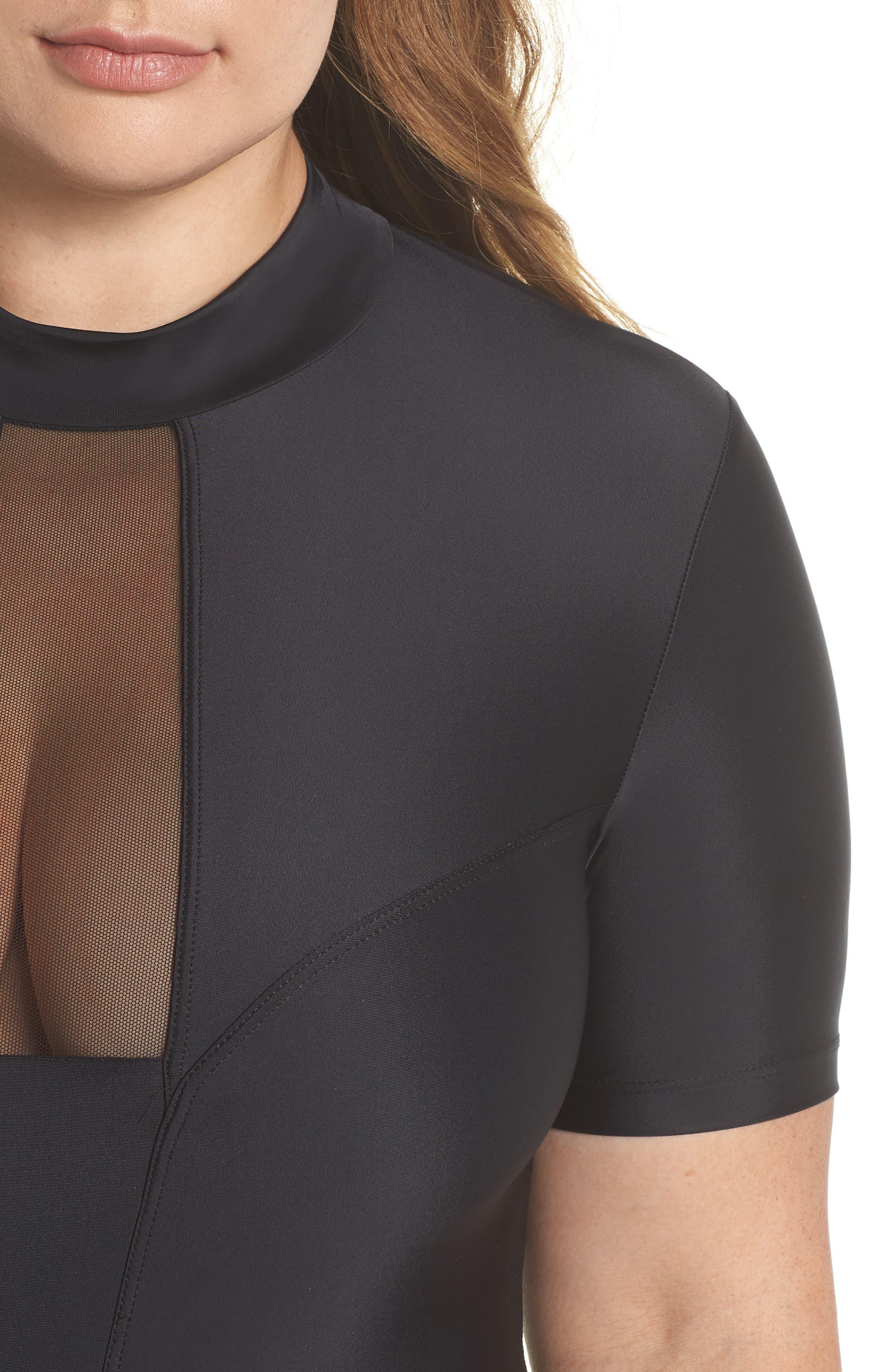 Tidal Back Zip One-Piece Swimsuit,                             Alternate thumbnail 4, color,                             Black