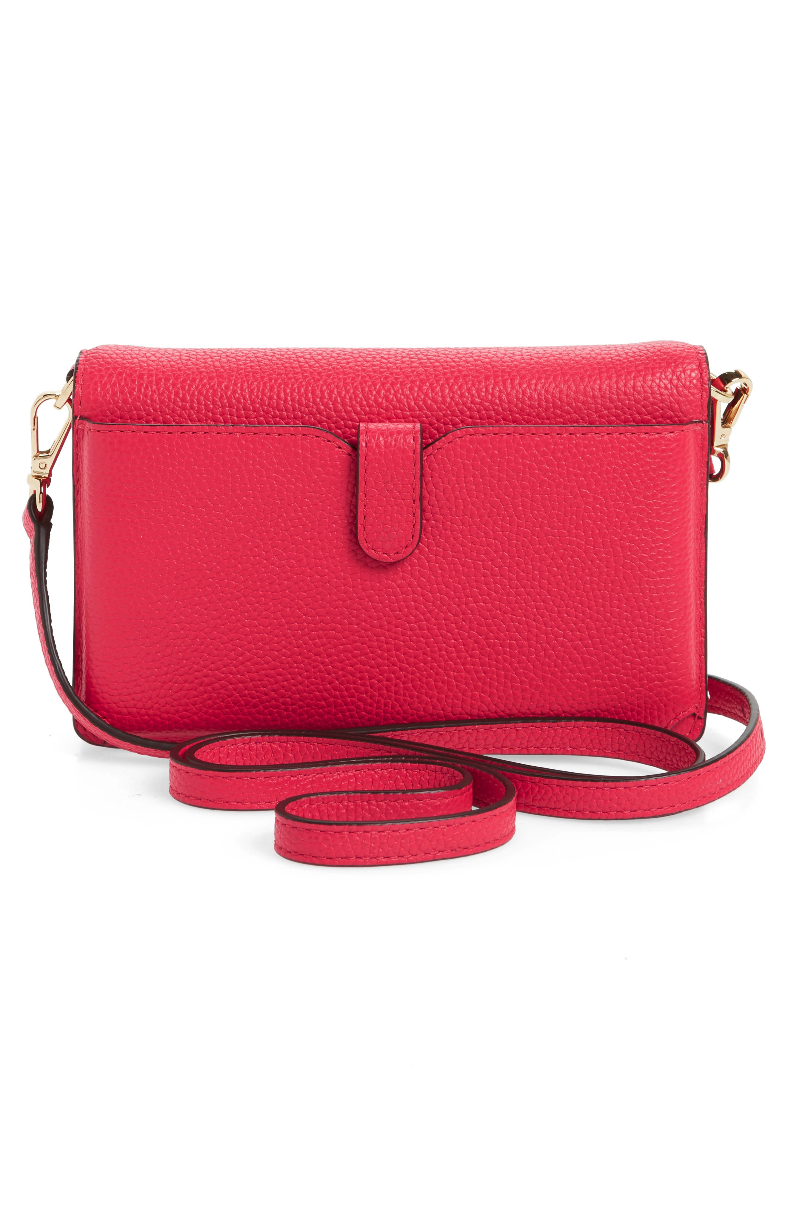 Leather Crossbody Phone Wallet,                             Alternate thumbnail 3, color,                             Deep Pink