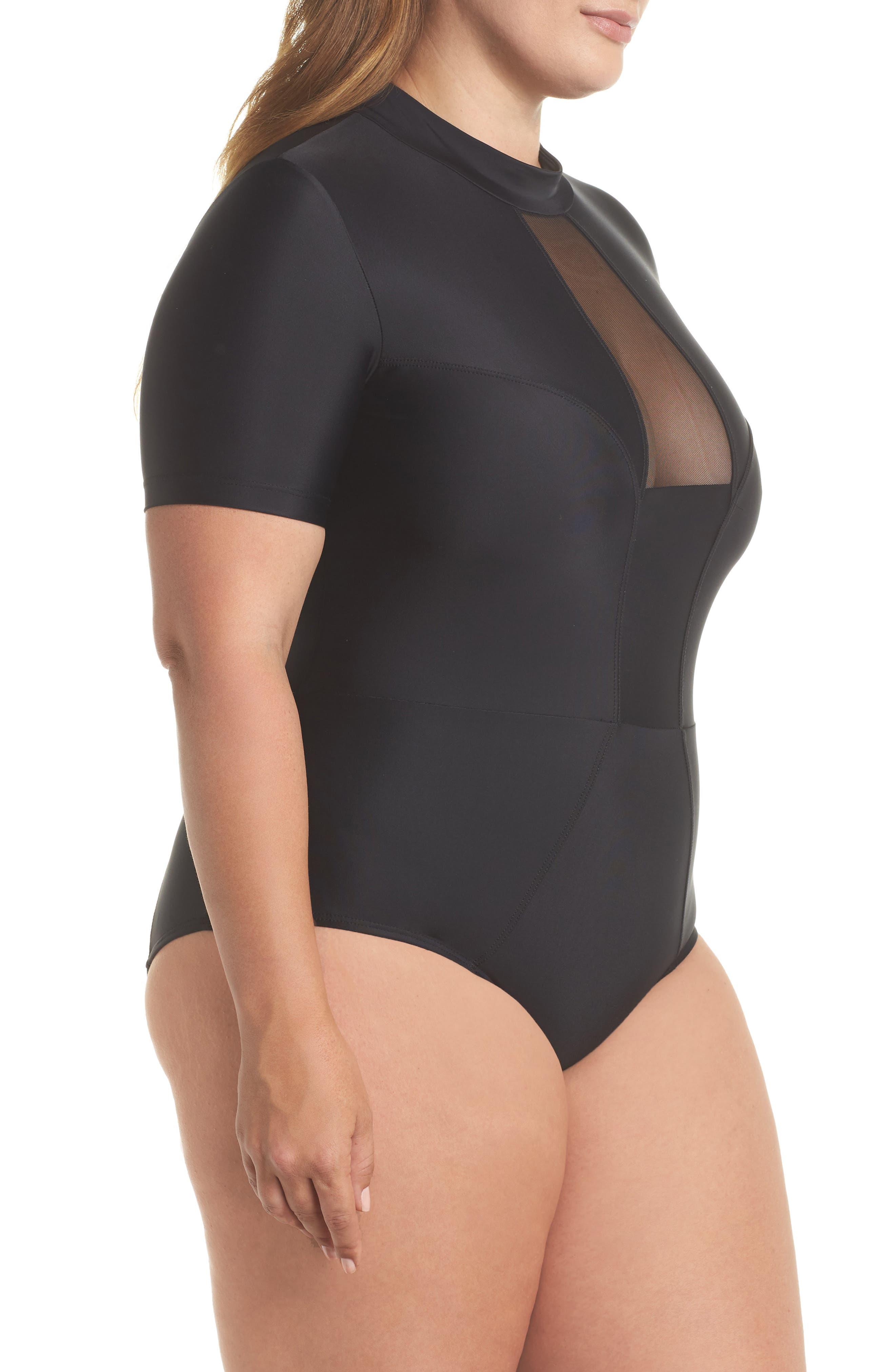 Tidal Back Zip One-Piece Swimsuit,                             Alternate thumbnail 3, color,                             Black