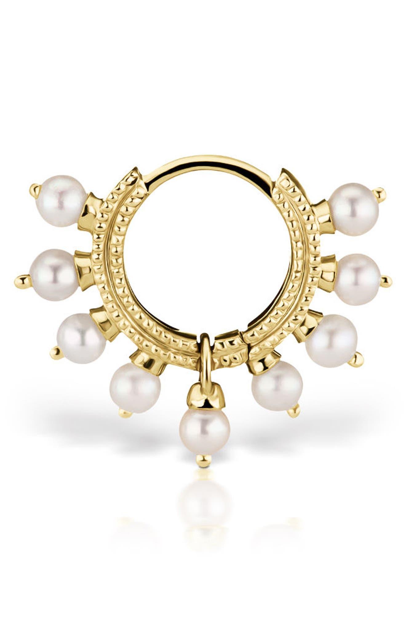 Maria Tash 18 Gauge Pearl Coronet Ring