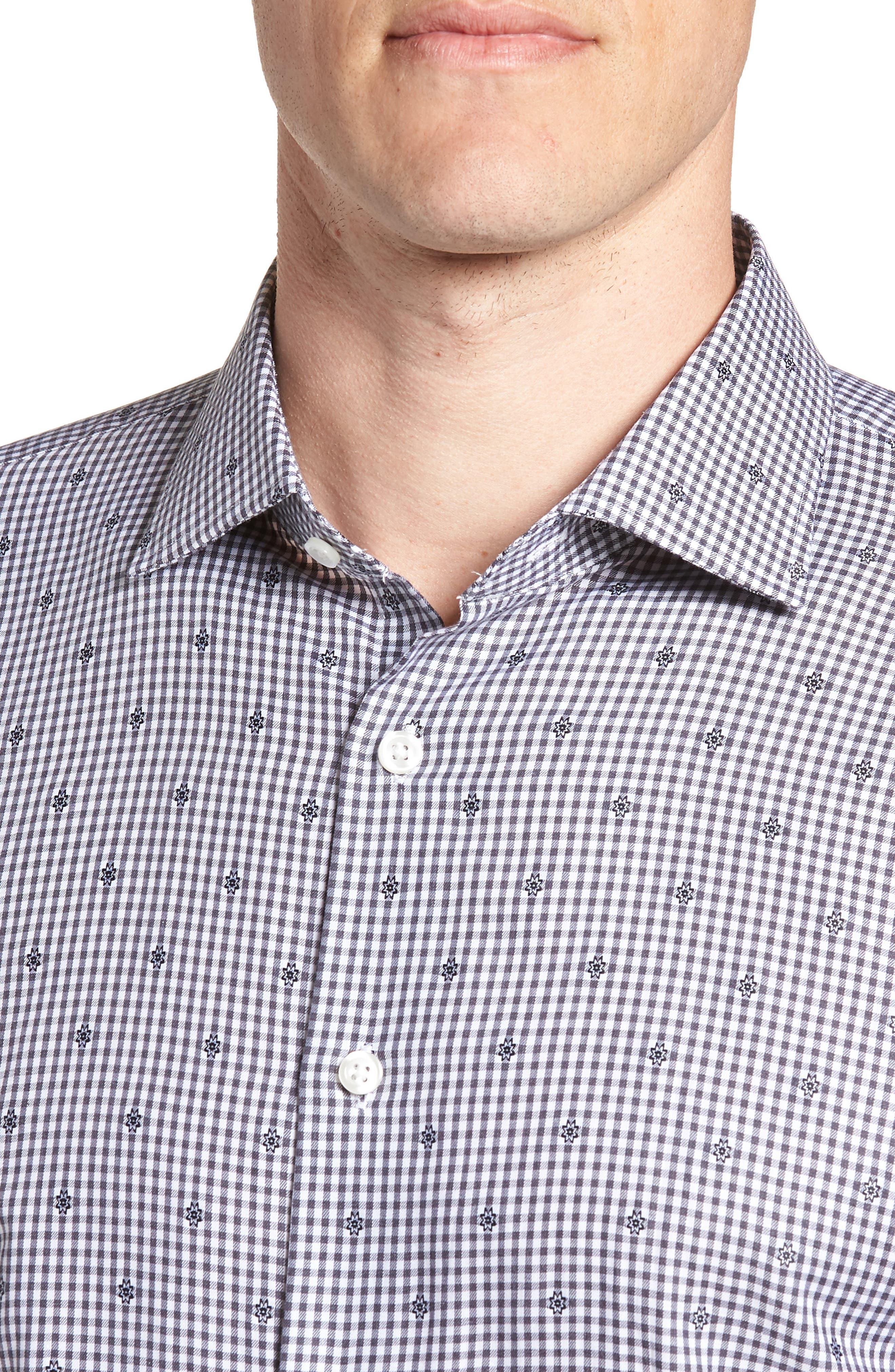 Trim Fit Check Dress Shirt,                             Alternate thumbnail 2, color,                             Grey Onyx