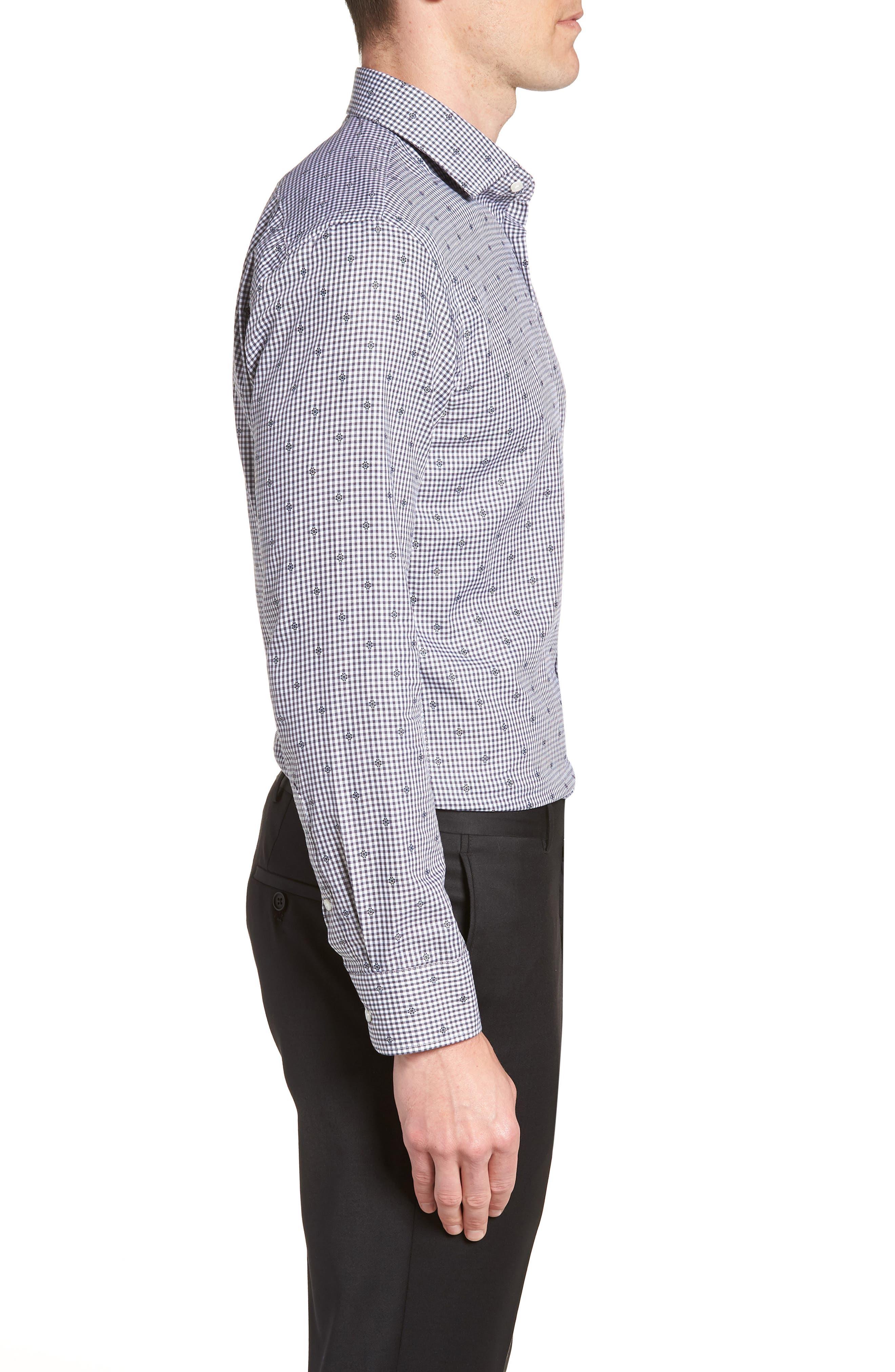Trim Fit Check Dress Shirt,                             Alternate thumbnail 4, color,                             Grey Onyx