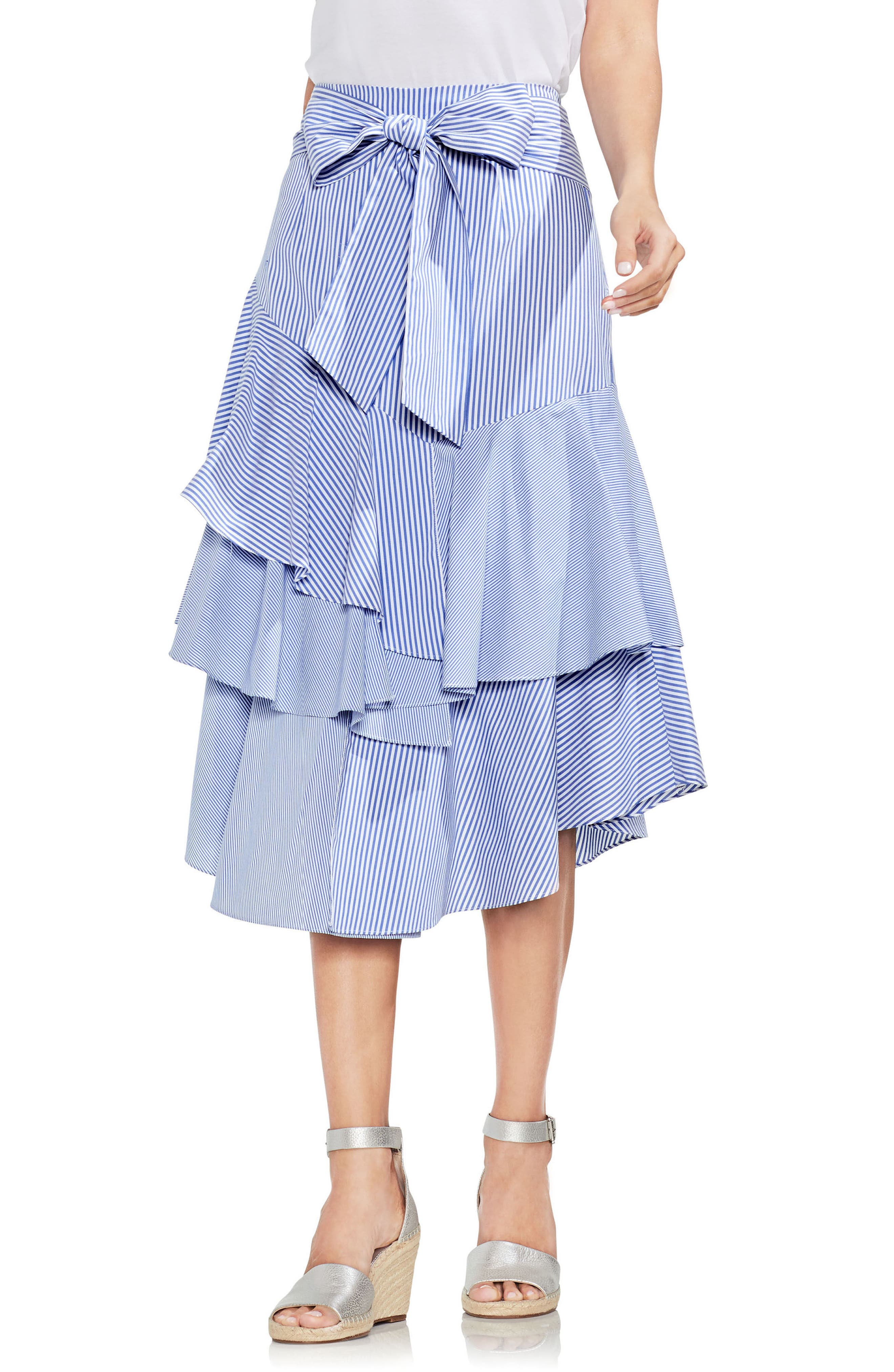 Mixed Media Tiered Cotton Blend Ruffle Skirt by Vince Camuto