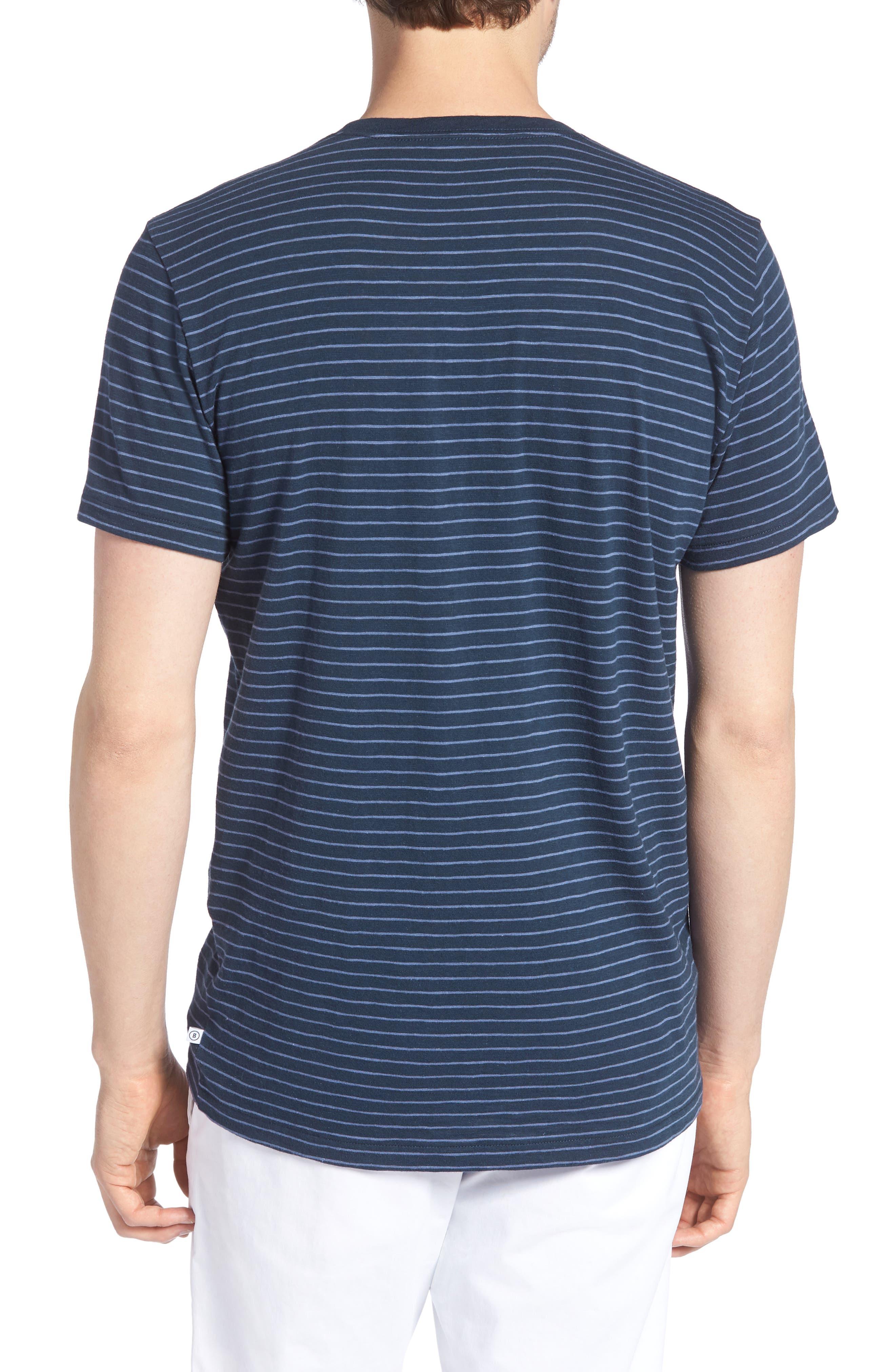 Stripe Slim Fit Pocket T-Shirt,                             Alternate thumbnail 2, color,                             French Navy/ White