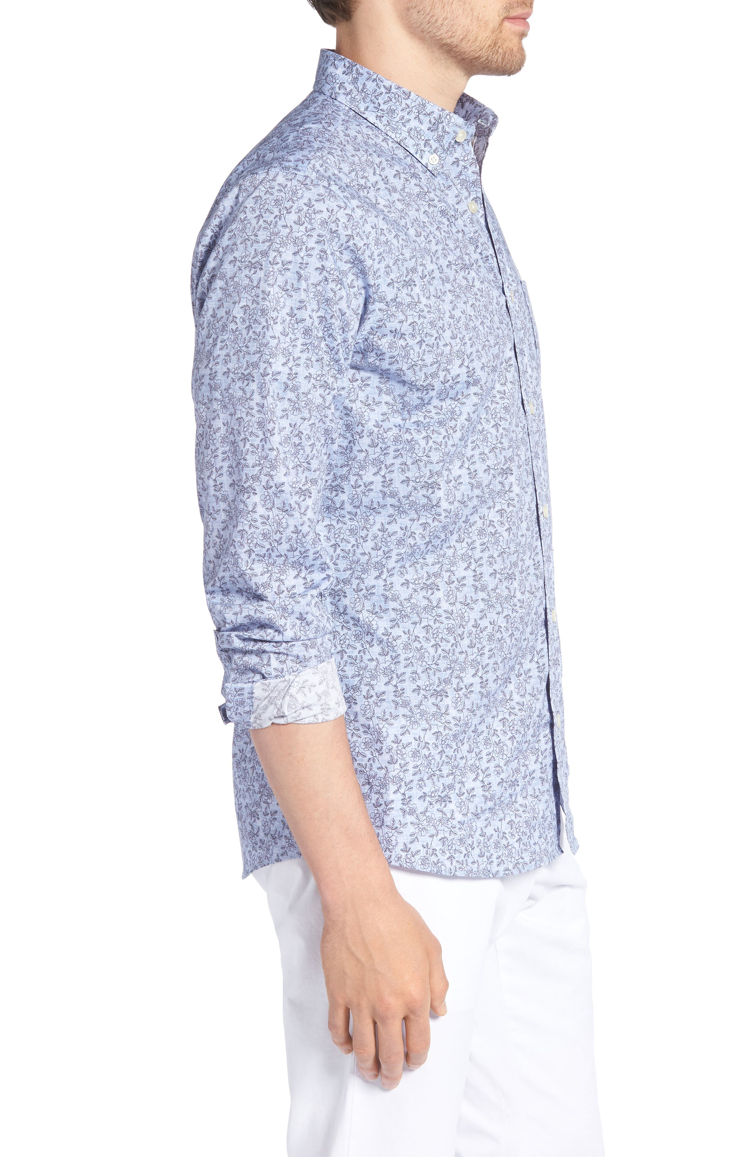 Trim Fit Chambray Floral Print Sport Shirt,                             Alternate thumbnail 4, color,                             Chambray Flower Print