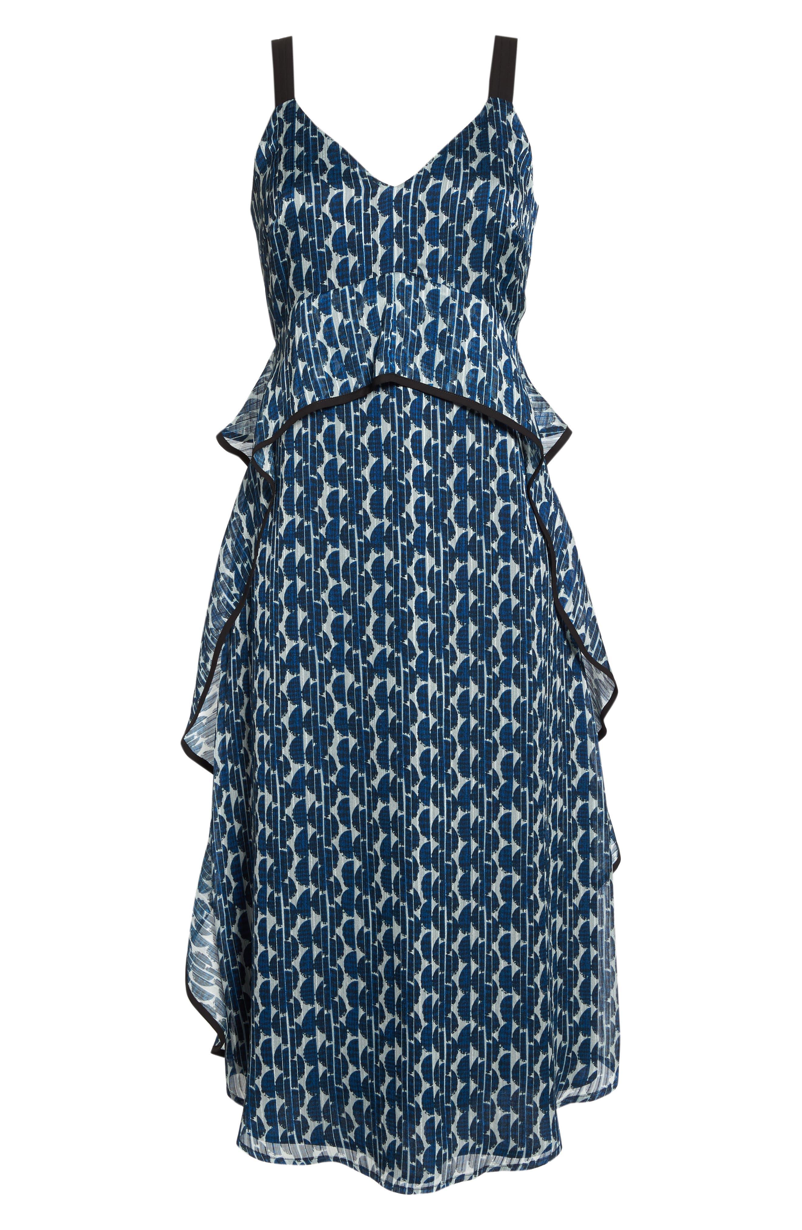 Print Frill Midi Dress,                             Alternate thumbnail 7, color,                             Blue/ Black