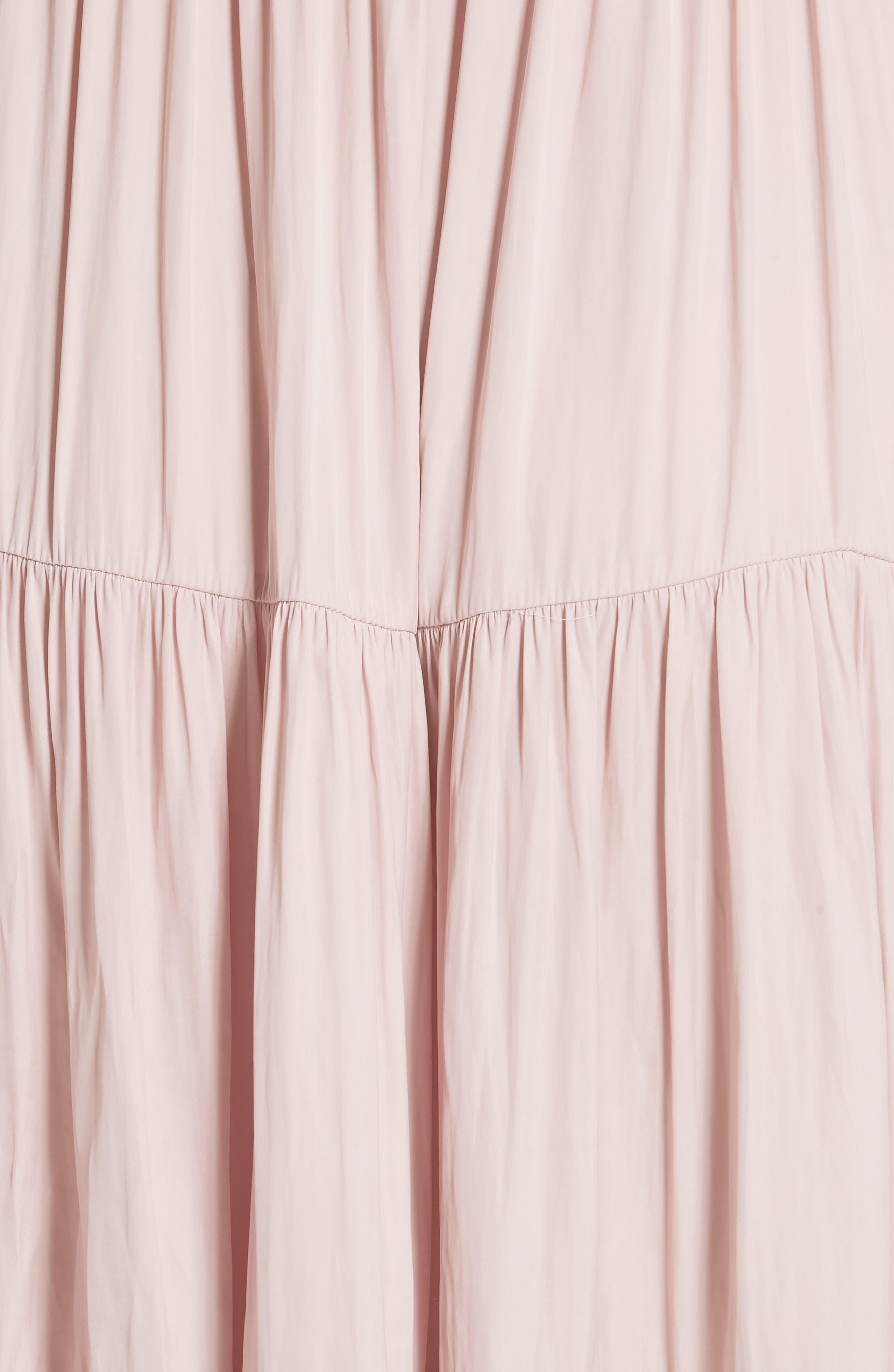 Blaire Satin Dress,                             Alternate thumbnail 5, color,                             Rose
