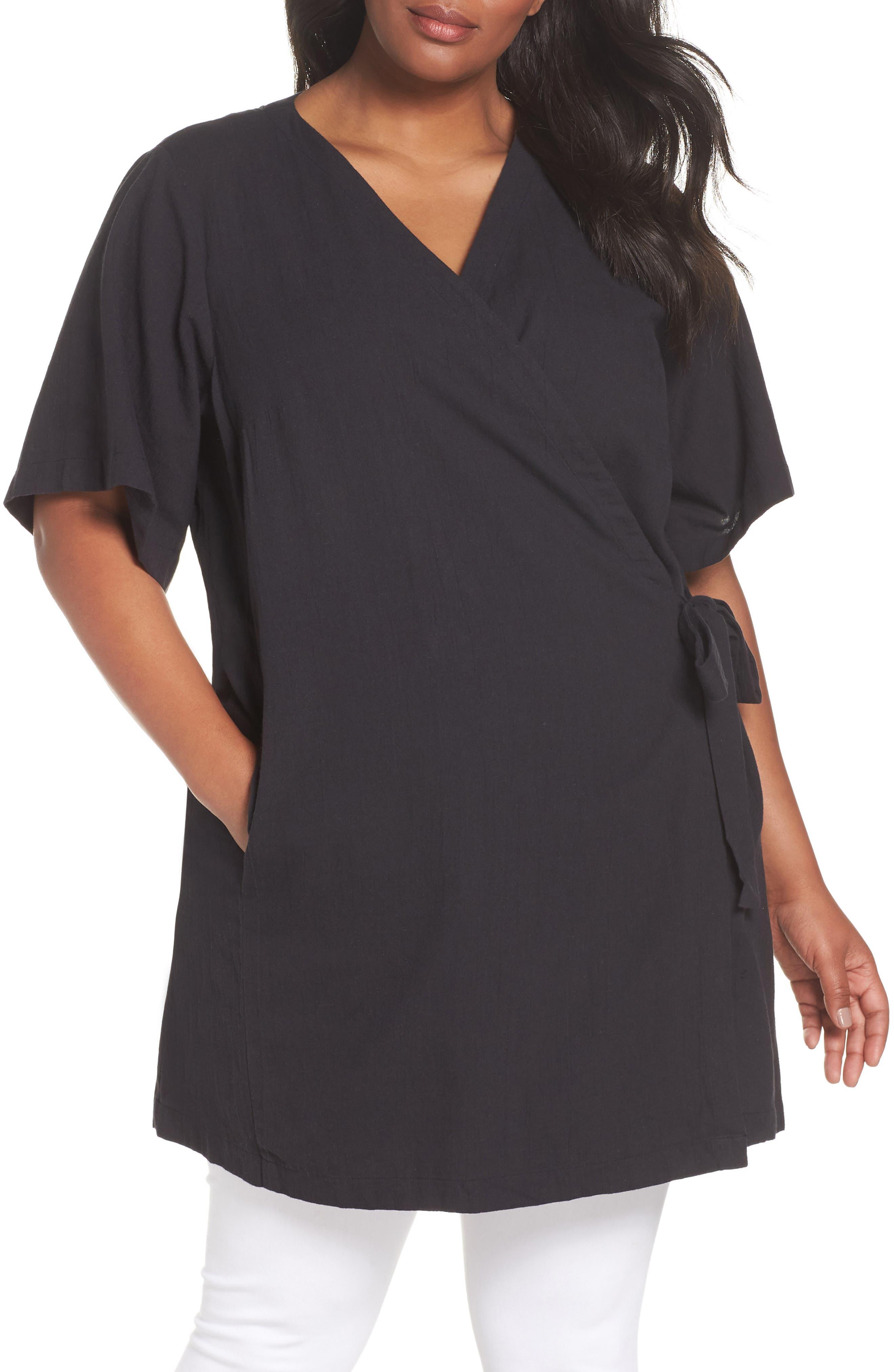 Organic Cotton Blend Kimono Jacket,                             Main thumbnail 1, color,                             Black