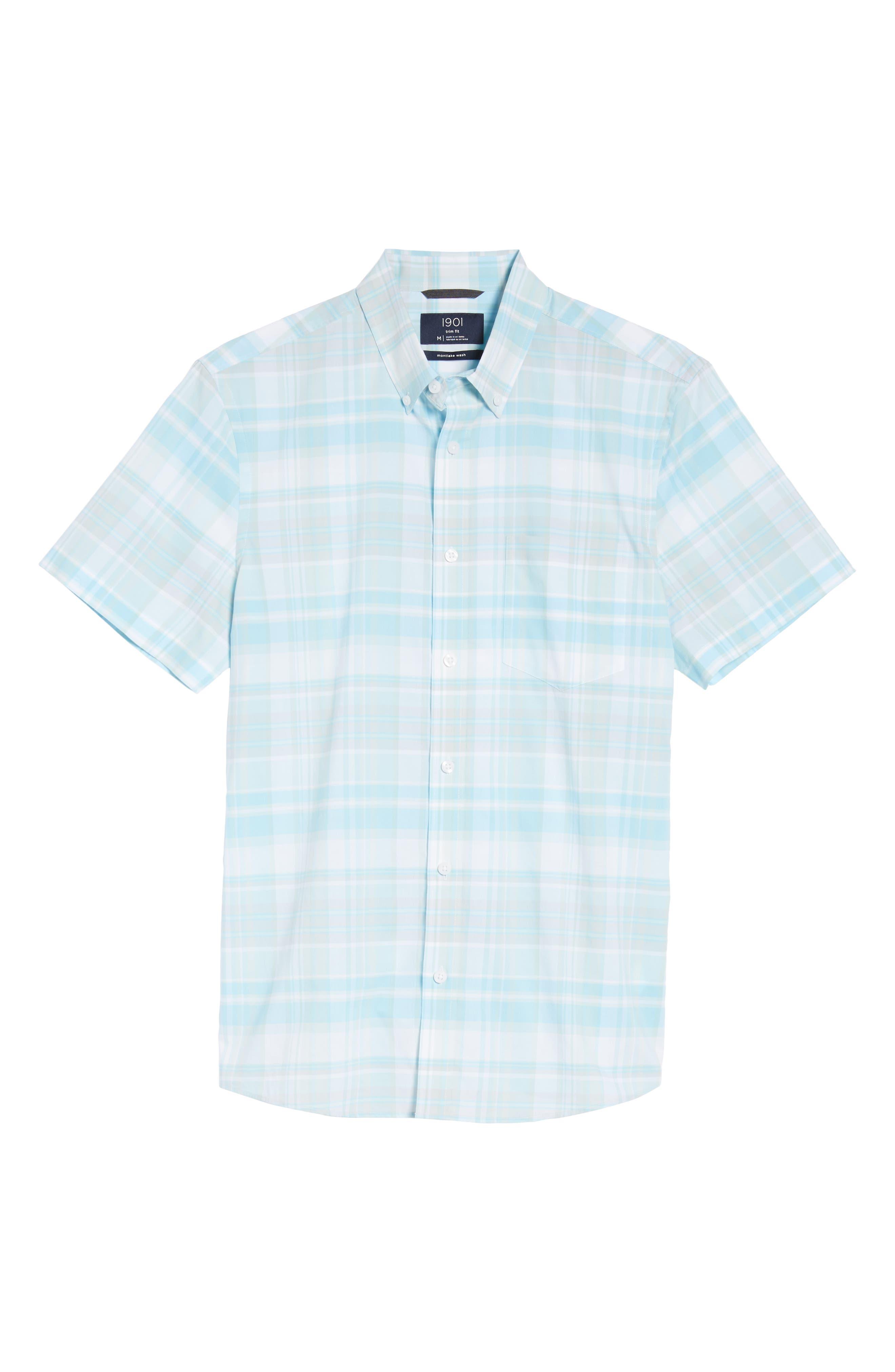 Trim Fit Plaid Sport Shirt,                             Alternate thumbnail 6, color,                             Blue Orydalis Teal Plaid