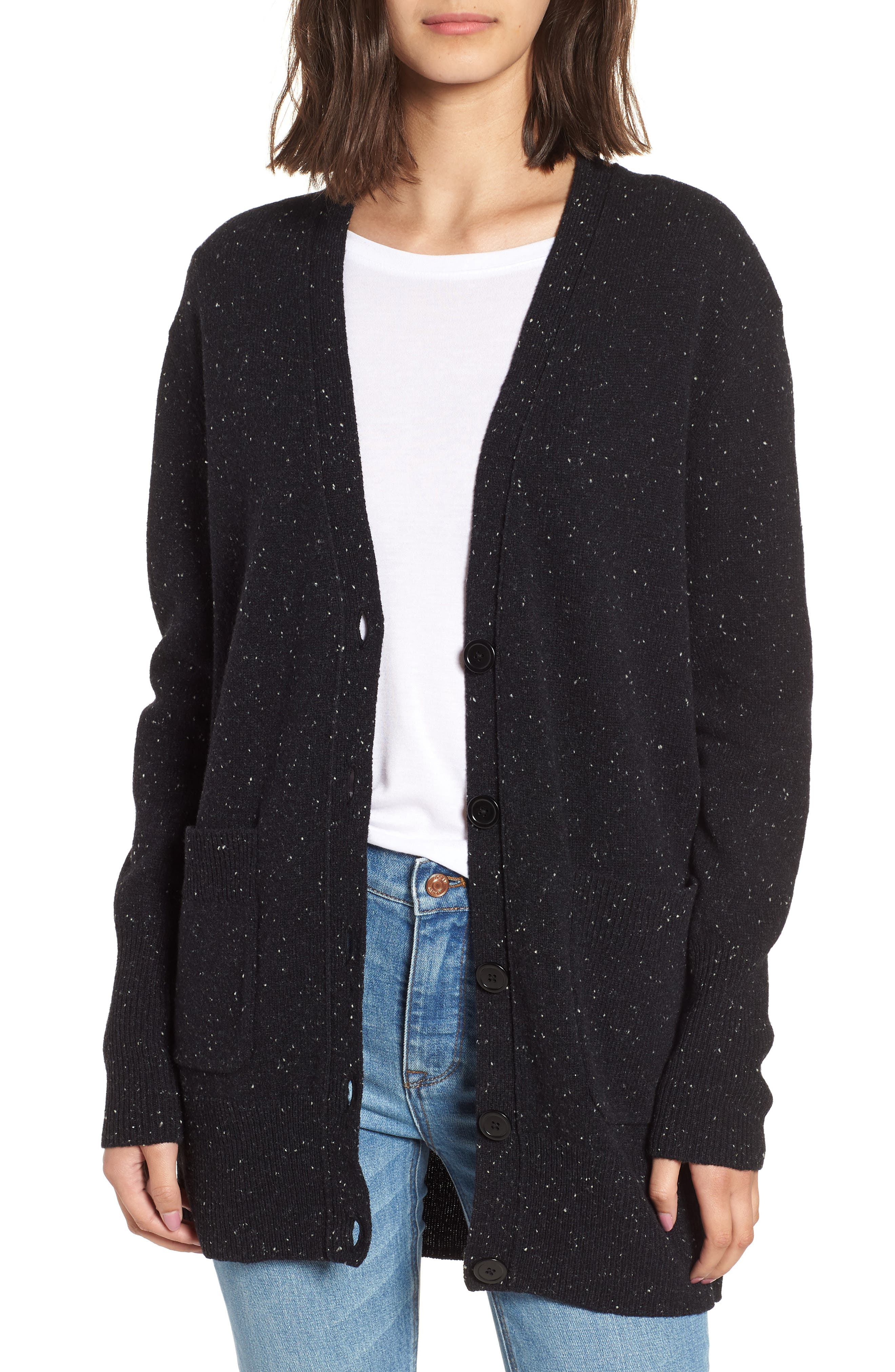 Long Donegal Wool Cardigan,                         Main,                         color, Black Donegal