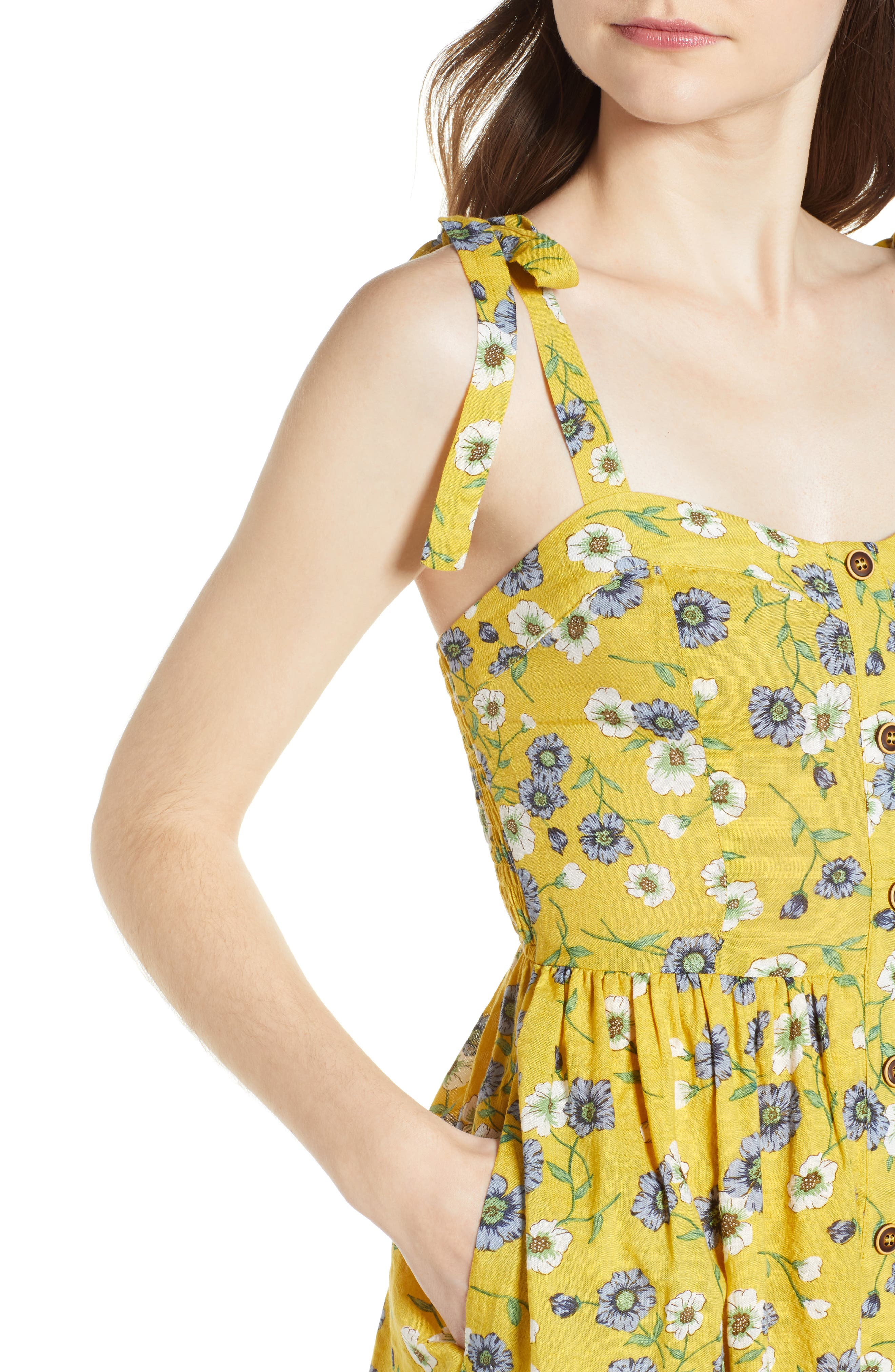 Floral Button Front Sundress,                             Alternate thumbnail 6, color,                             Yellow Floral