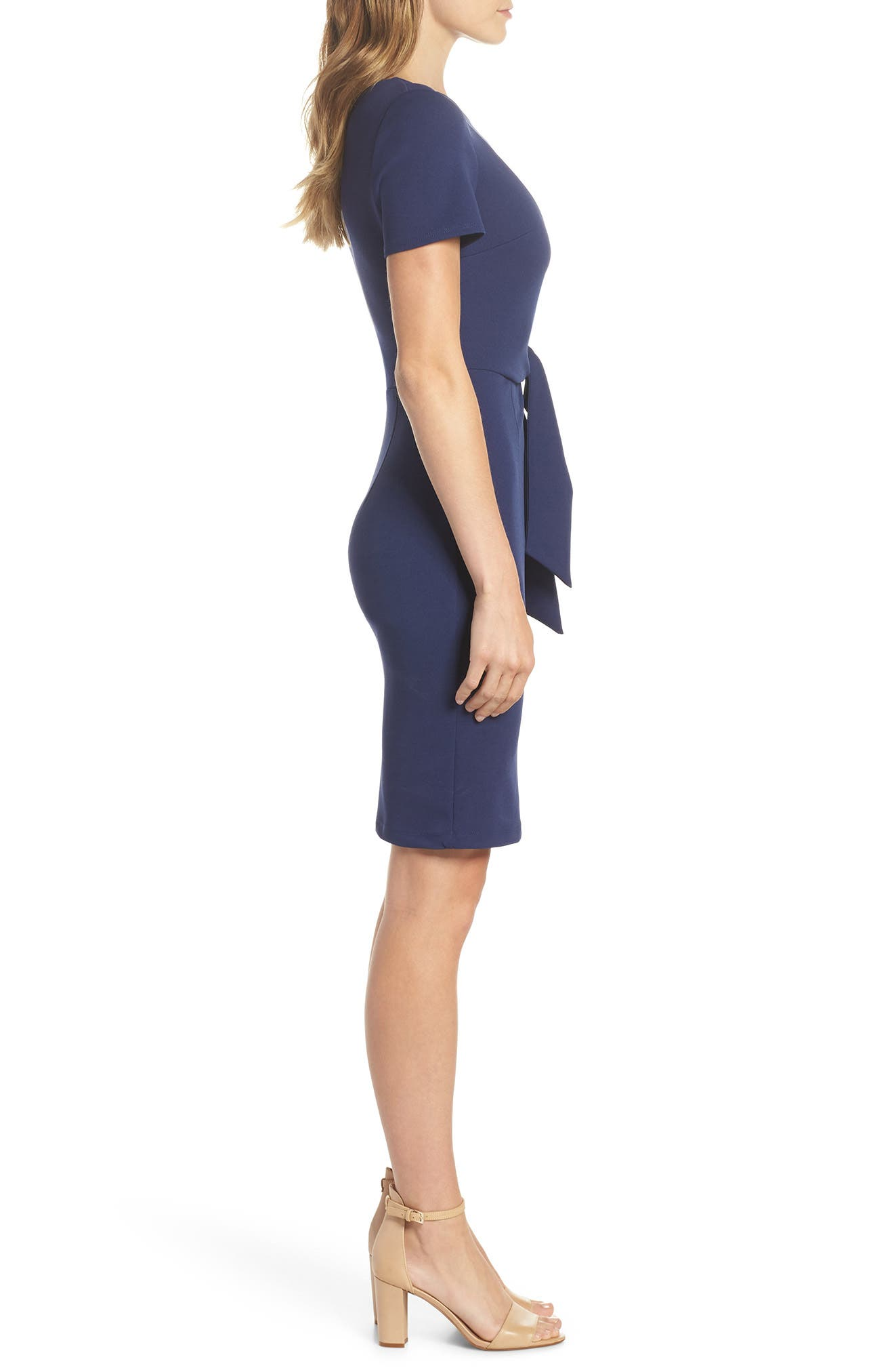 Tie Front Sheath Dress,                             Alternate thumbnail 3, color,                             Navy
