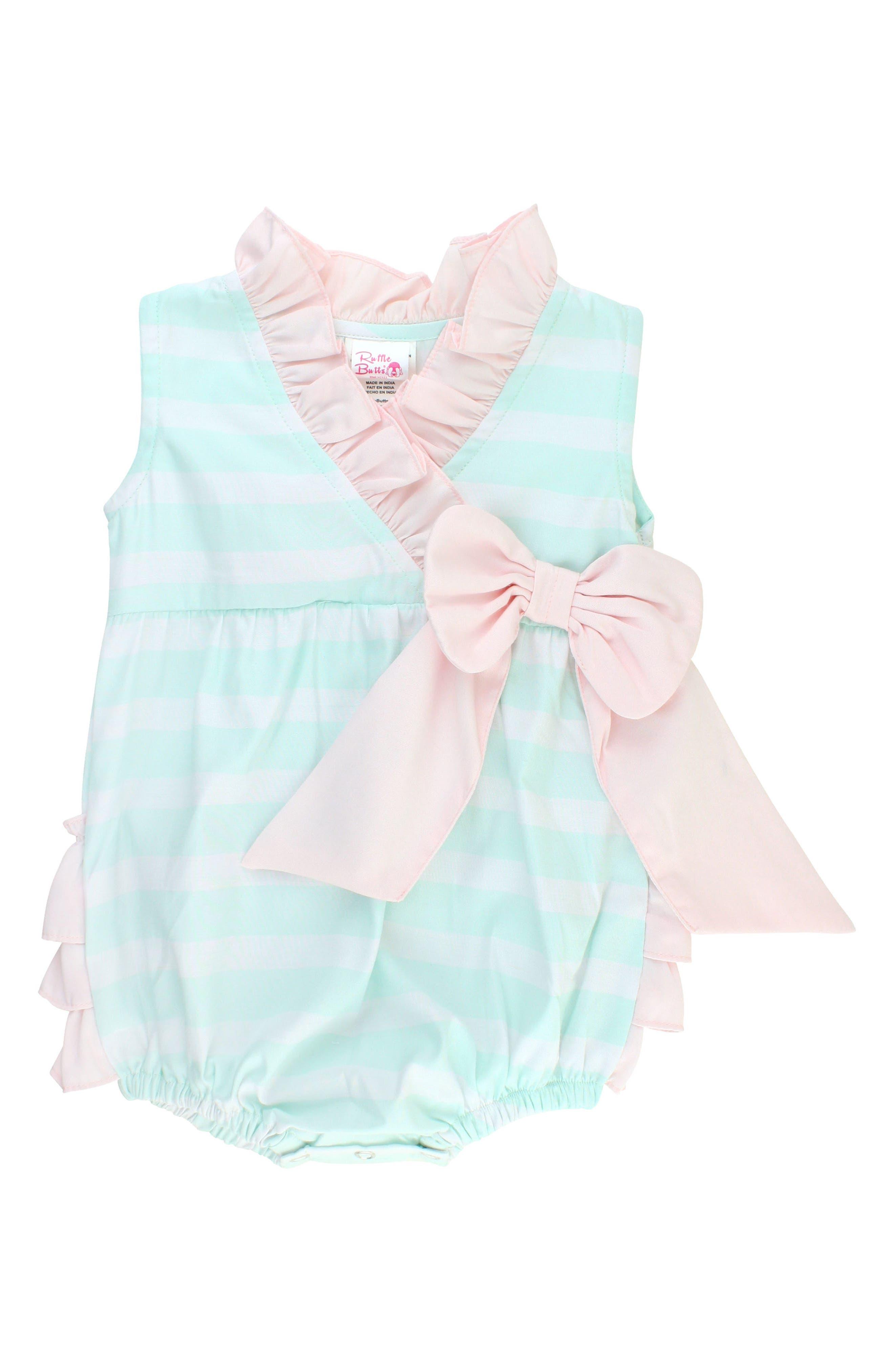 RuffleButts Stripe Wrap Bubble Romper (Baby Girls)