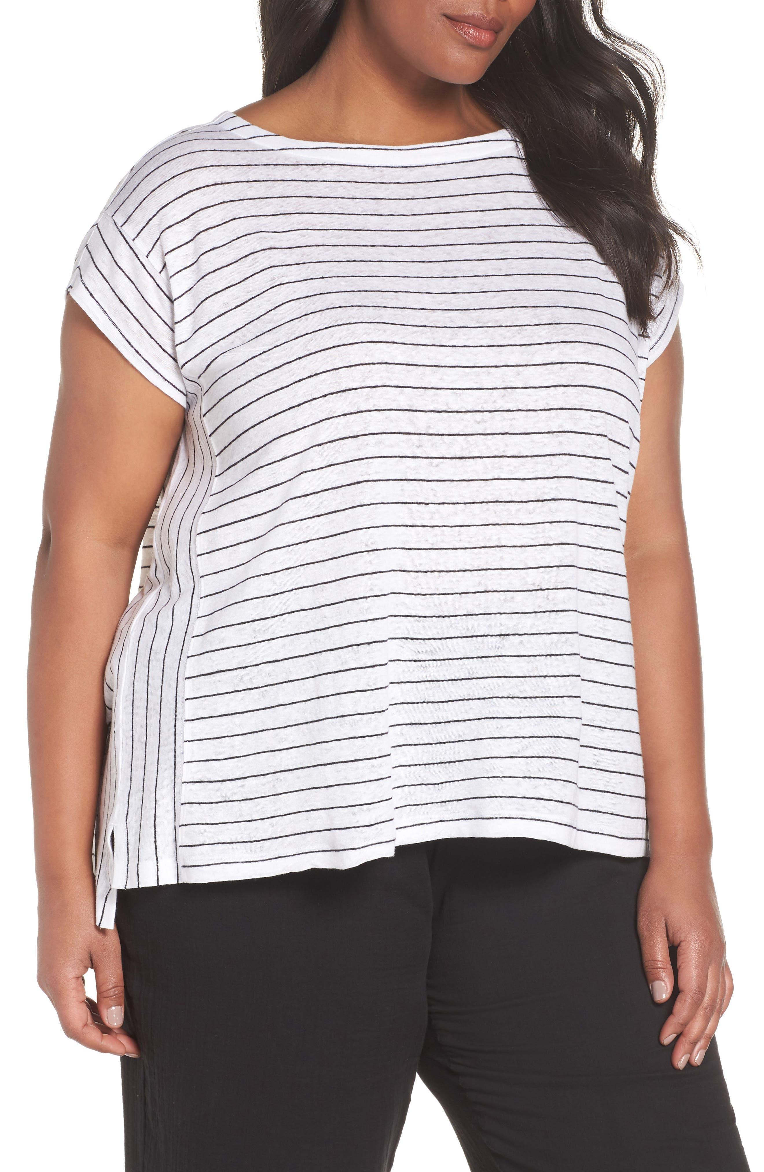 Bateau Neck Stripe Linen Top,                             Main thumbnail 1, color,                             White/ Black