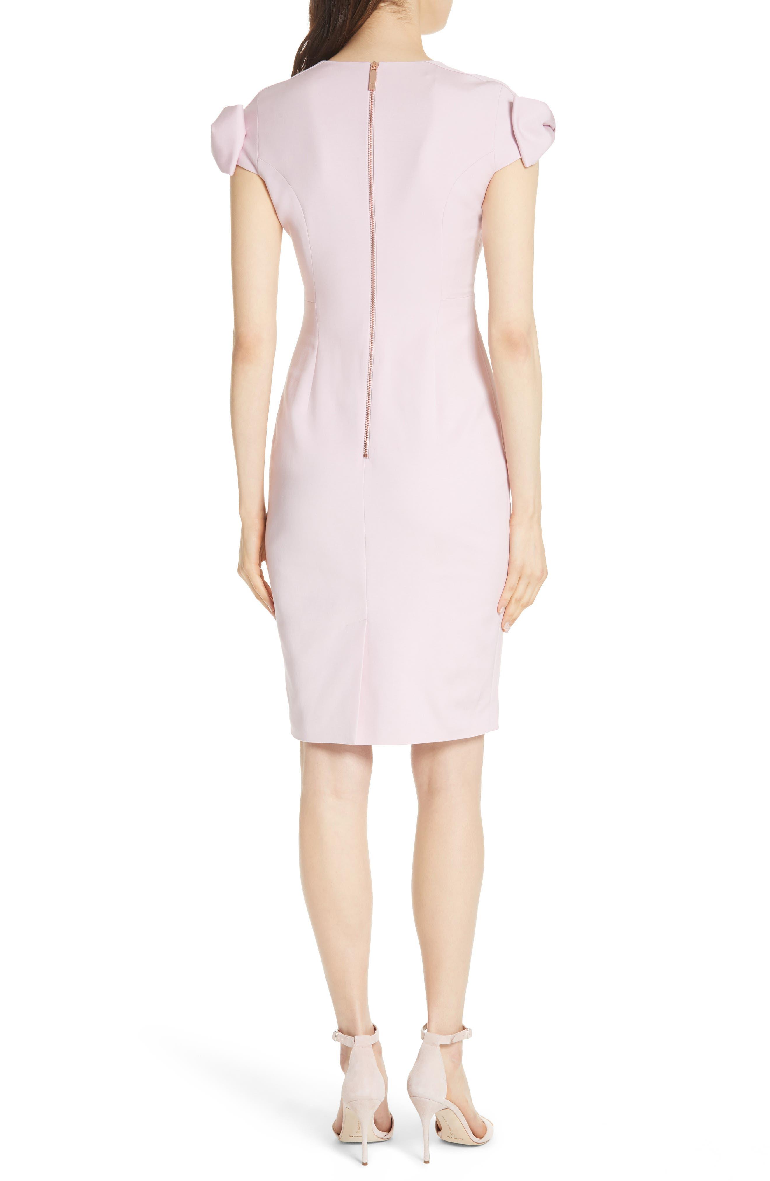 Bow Shoulder Pencil Dress,                             Alternate thumbnail 2, color,                             Lilac
