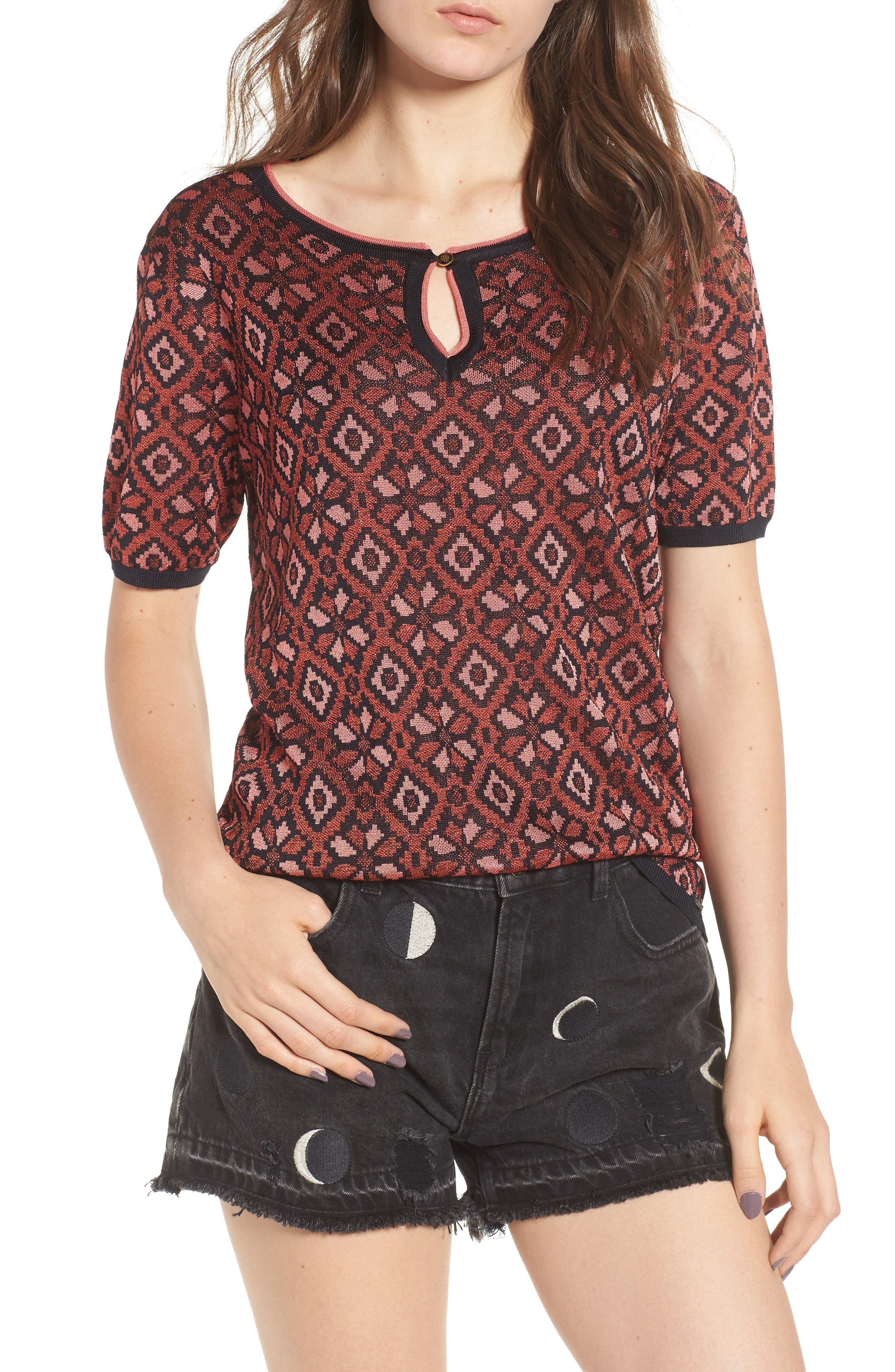 Tile Pattern Keyhole Sweater,                         Main,                         color, 17 Combo A