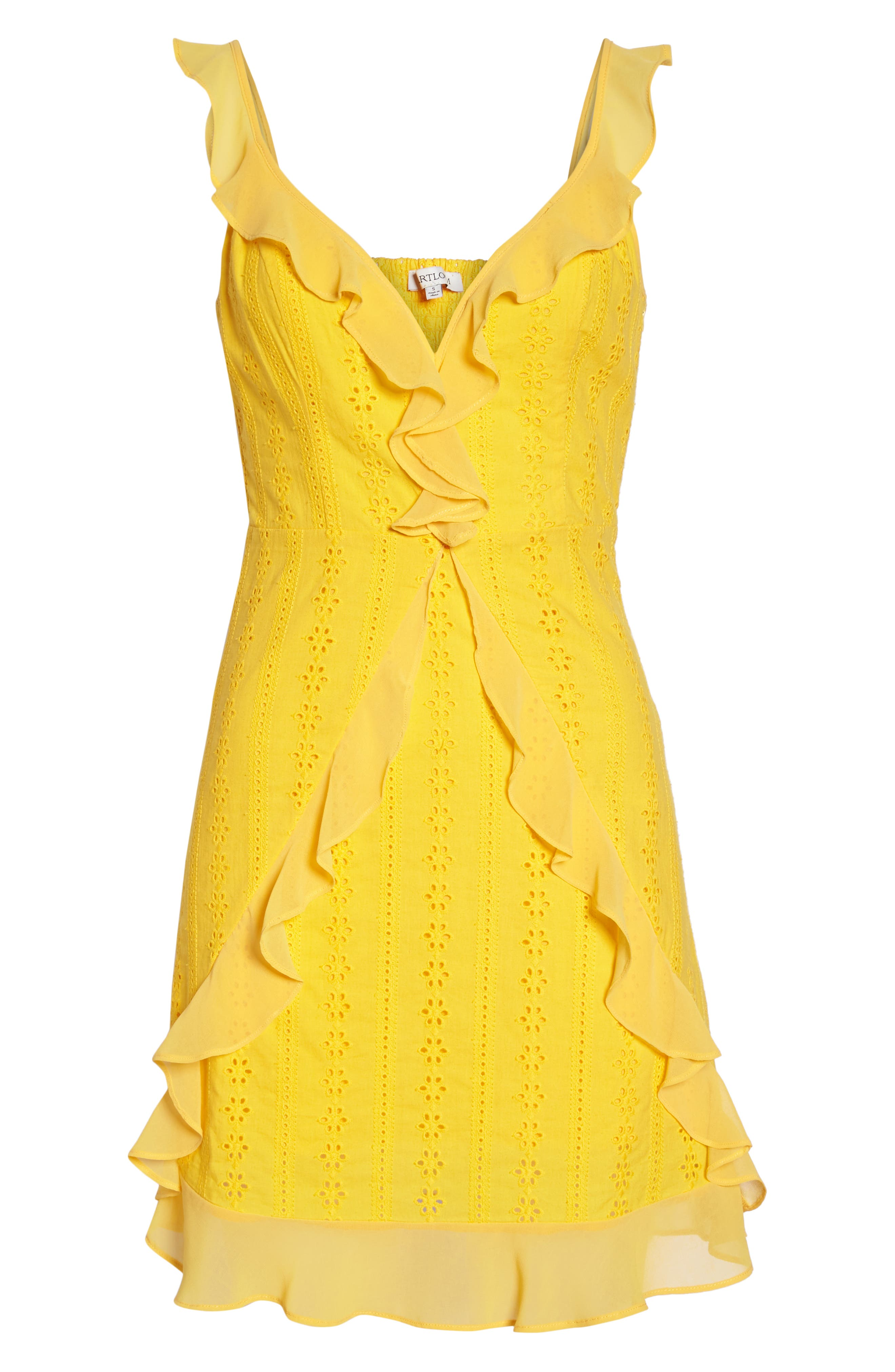 Jessa Ruffle Eyelet Fit & Flare Dress,                             Alternate thumbnail 7, color,                             Lemonade