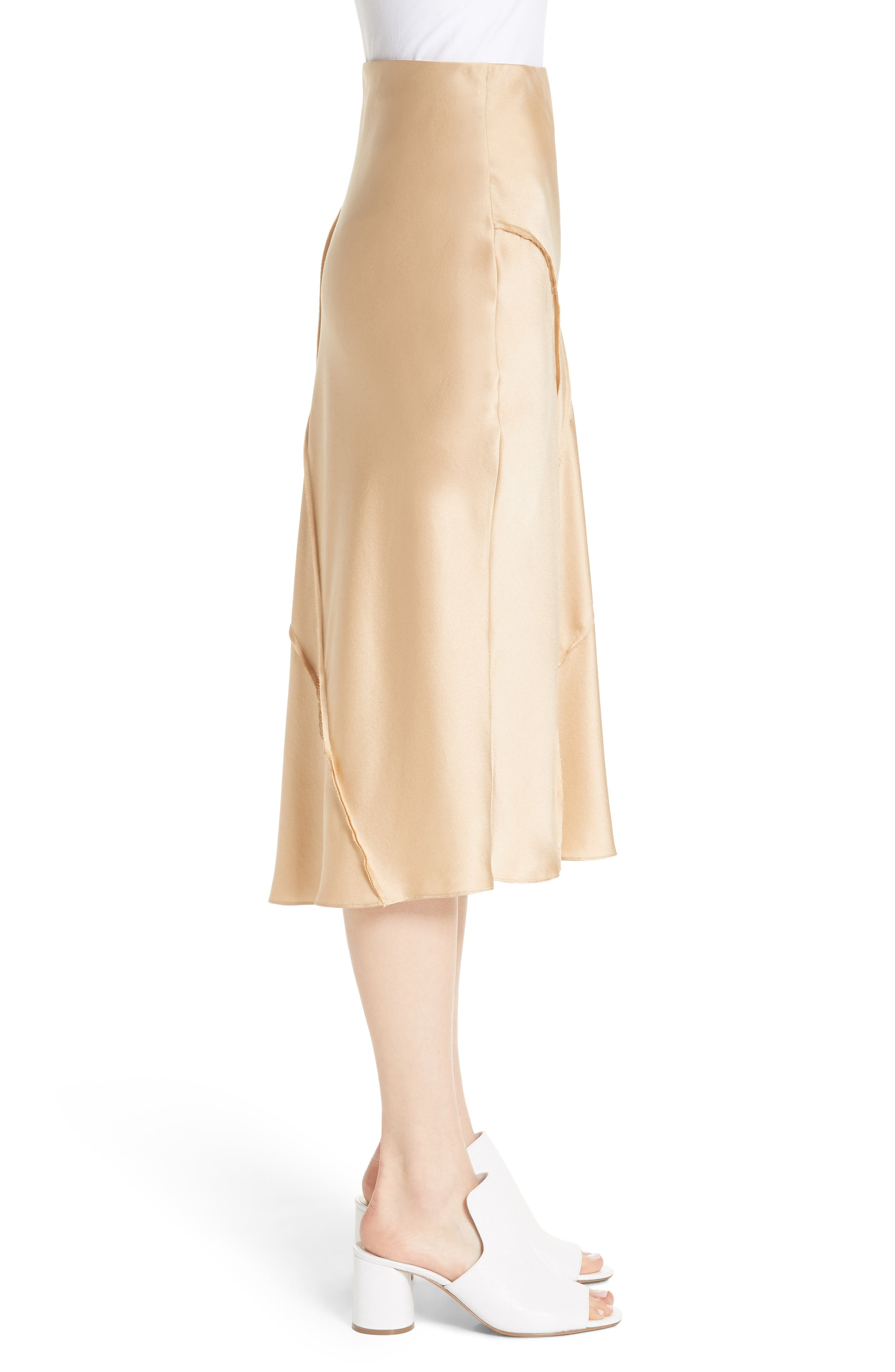 Raw Edge Bias Silk Skirt,                             Alternate thumbnail 3, color,                             Ginseng