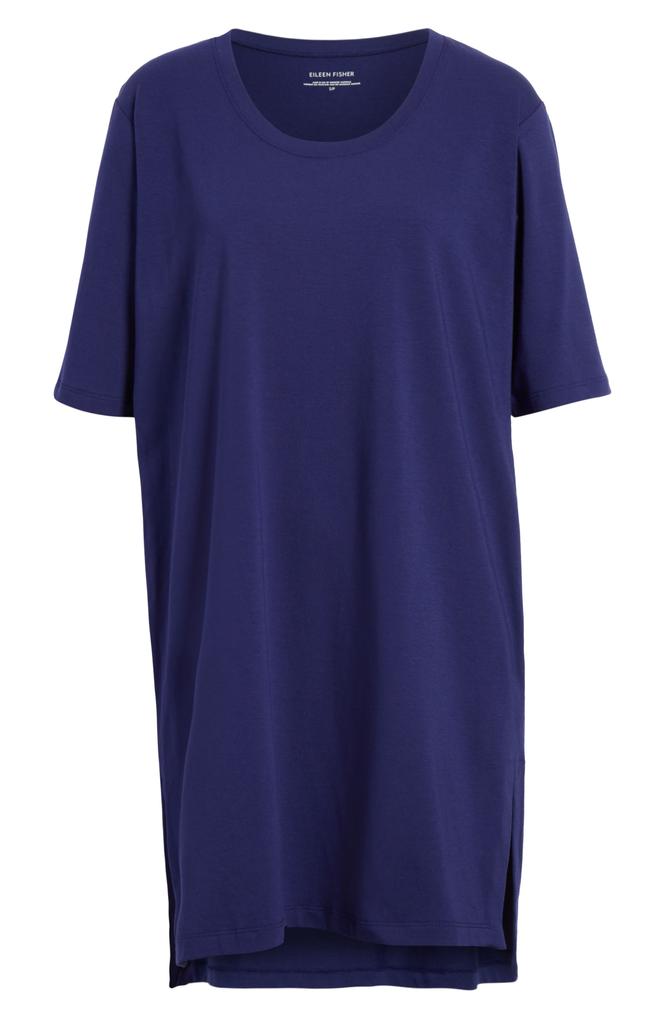 Stretch Organic Cotton Jersey Tunic,                             Alternate thumbnail 6, color,                             Sapphire