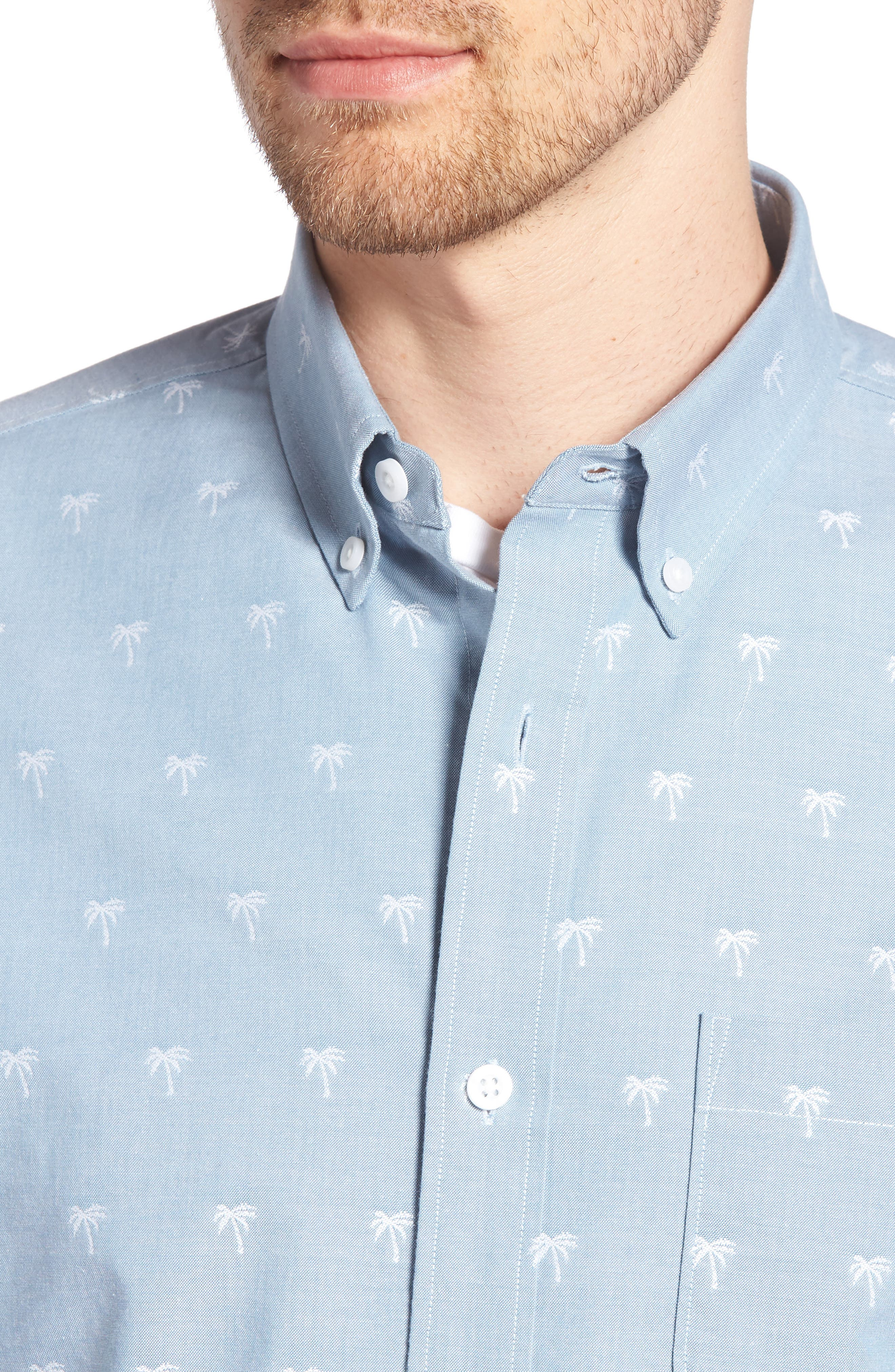 Trim Fit Print Chambray Sport Shirt,                             Alternate thumbnail 2, color,                             Blue Chambray Palm Trees