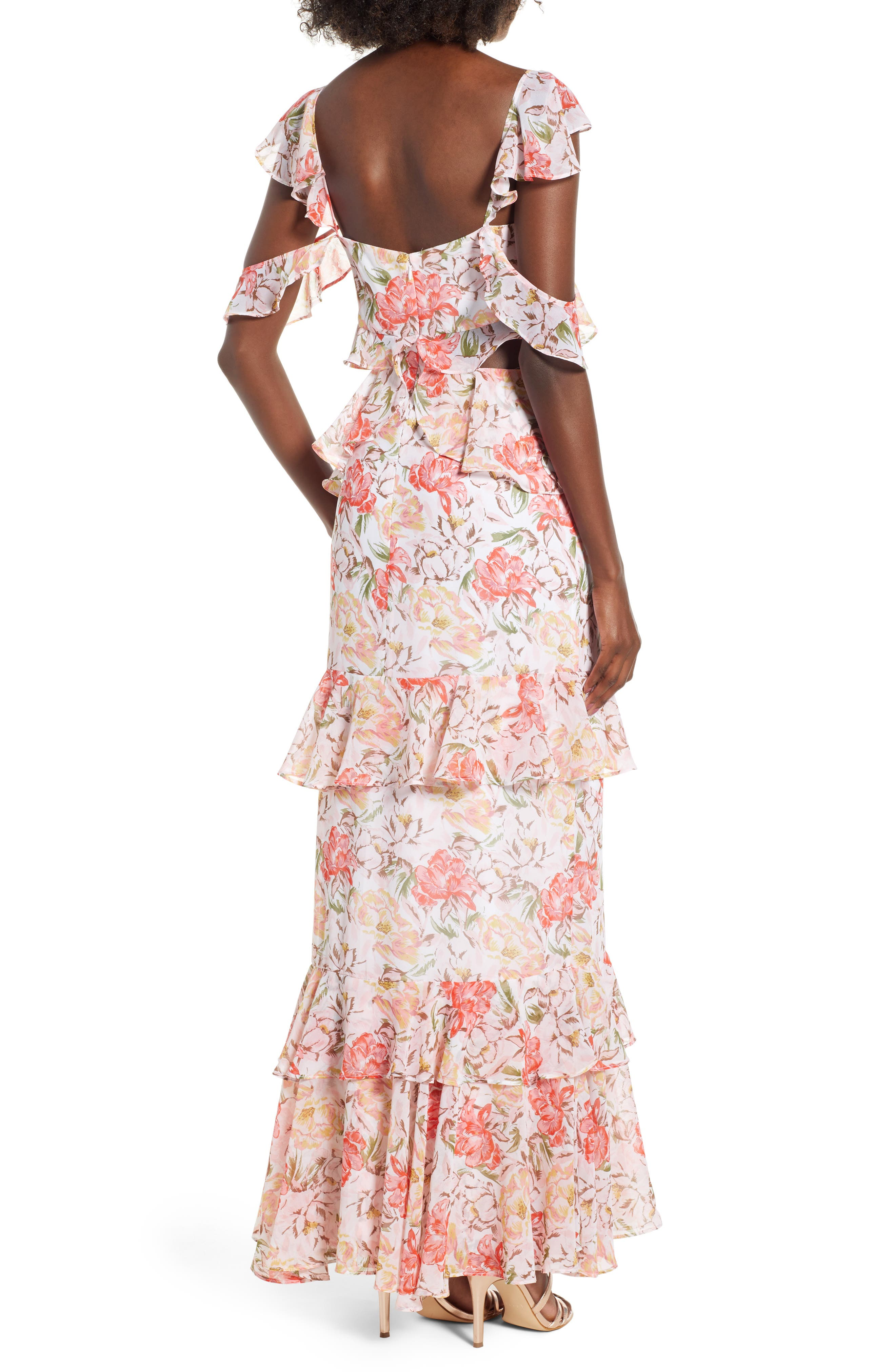 Milan Cut Out Ruffle Maxi Dress,                             Alternate thumbnail 3, color,                             Ivory Floral