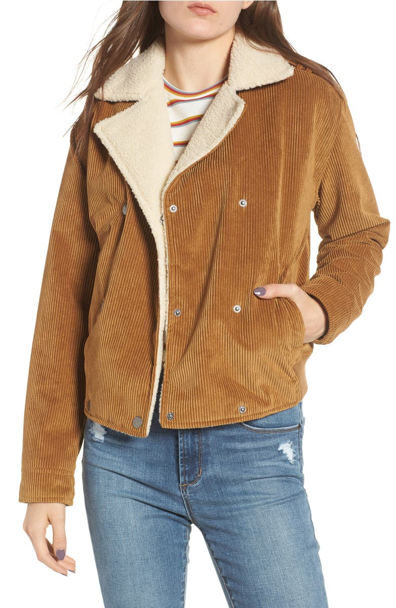 Fleece Lined Corduroy Jacket,                         Main,                         color, Brown Cattail