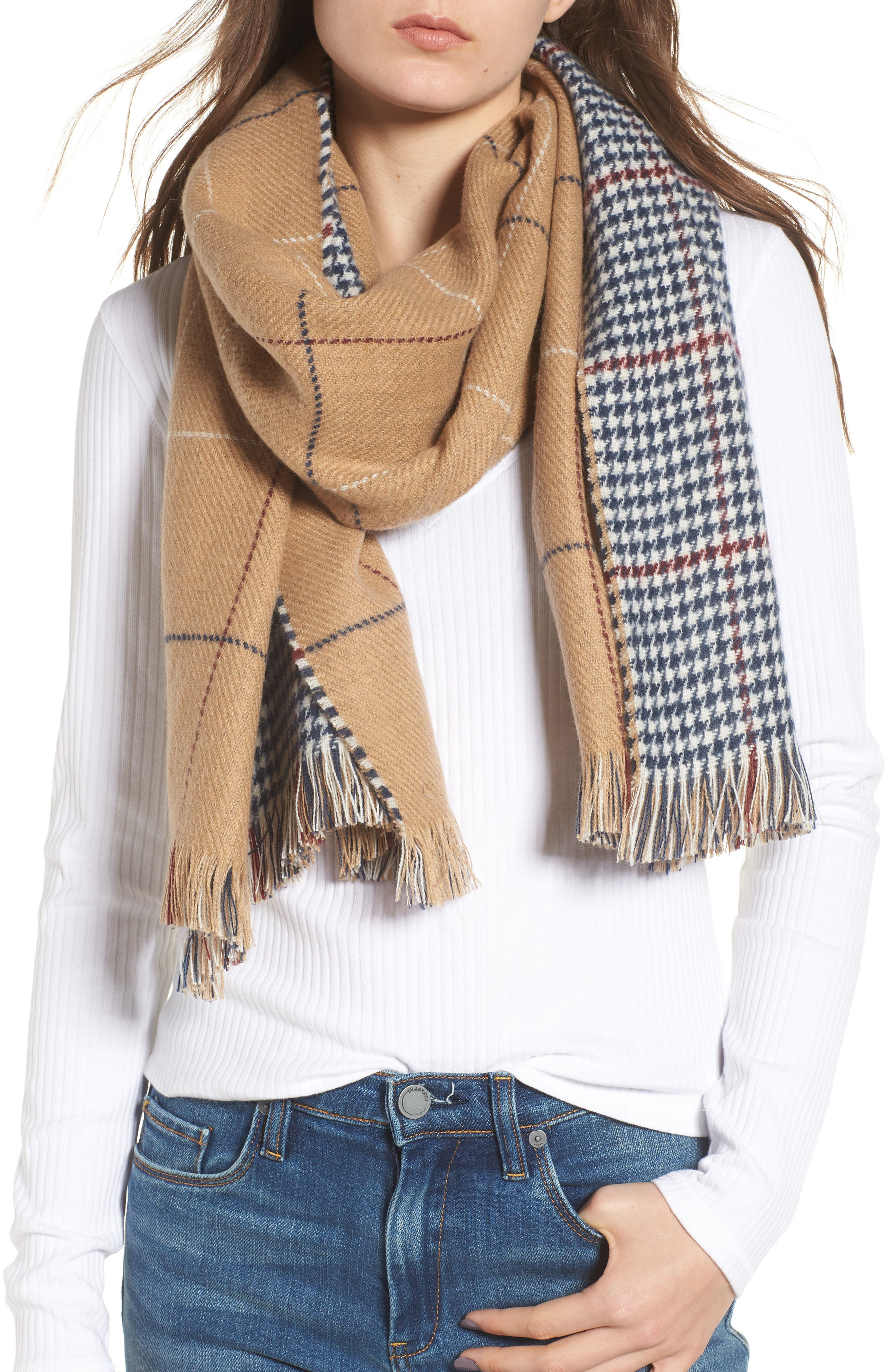 Reversible Houndstooth & Grid Scarf,                             Main thumbnail 1, color,                             Tan Multi
