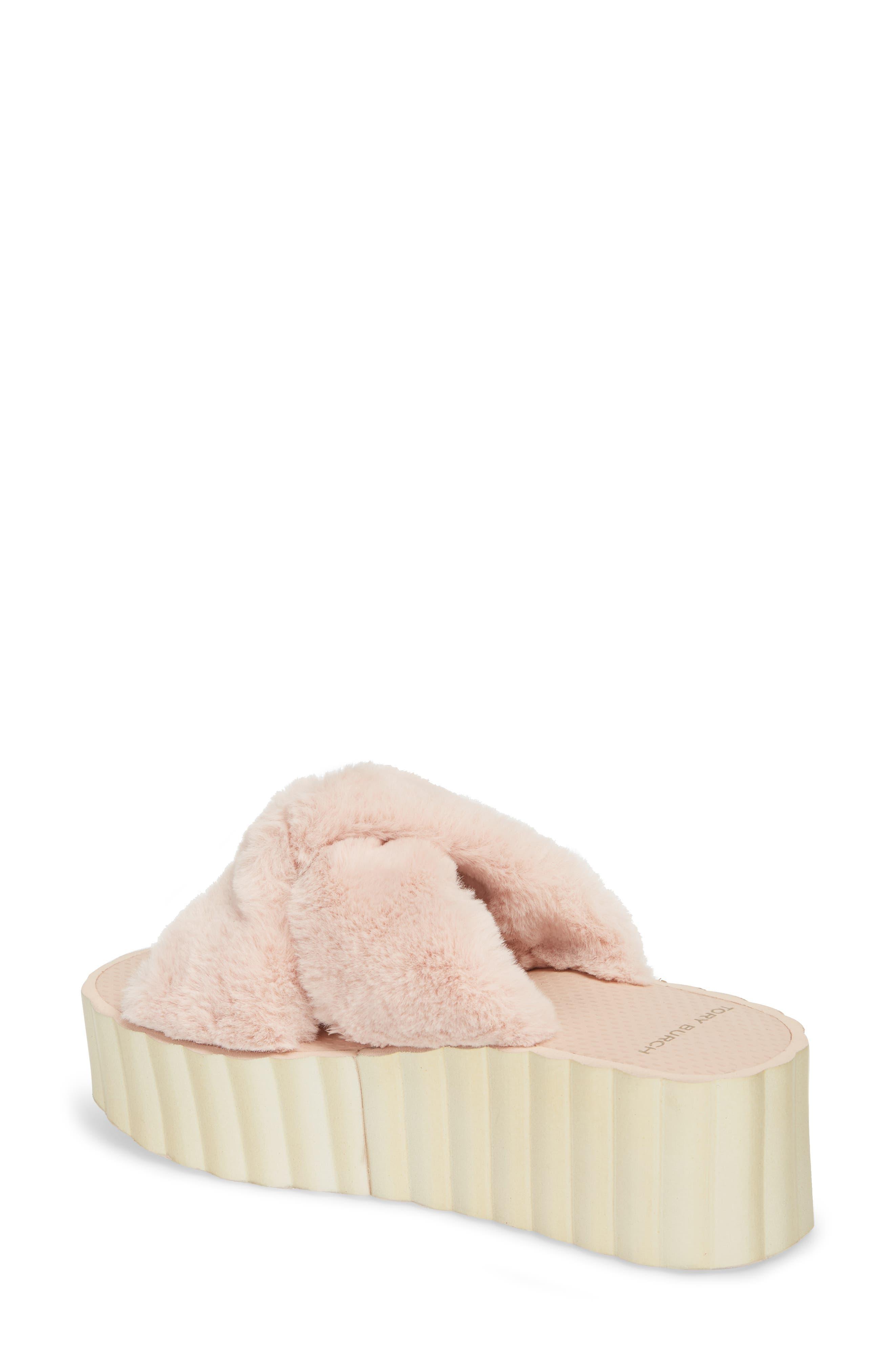 Faux Fur Scallop Platform Slide Sandal,                             Alternate thumbnail 2, color,                             Sea Shell Pink